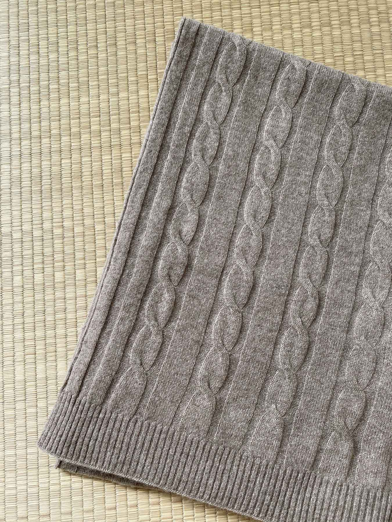 Cable Knit Cashmere Shawl 4