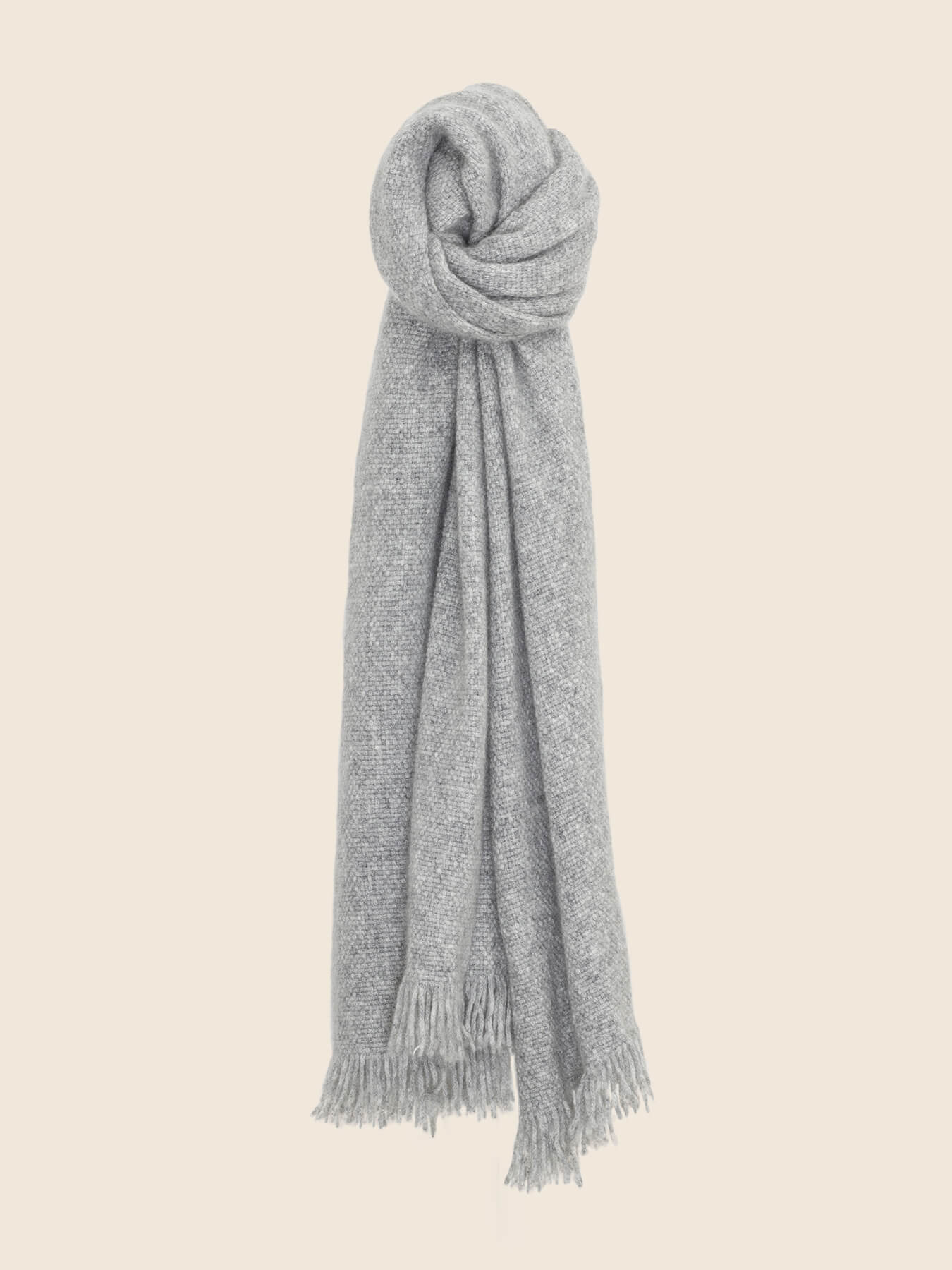 Classic Knitted Cashmere Scarf Grey 1