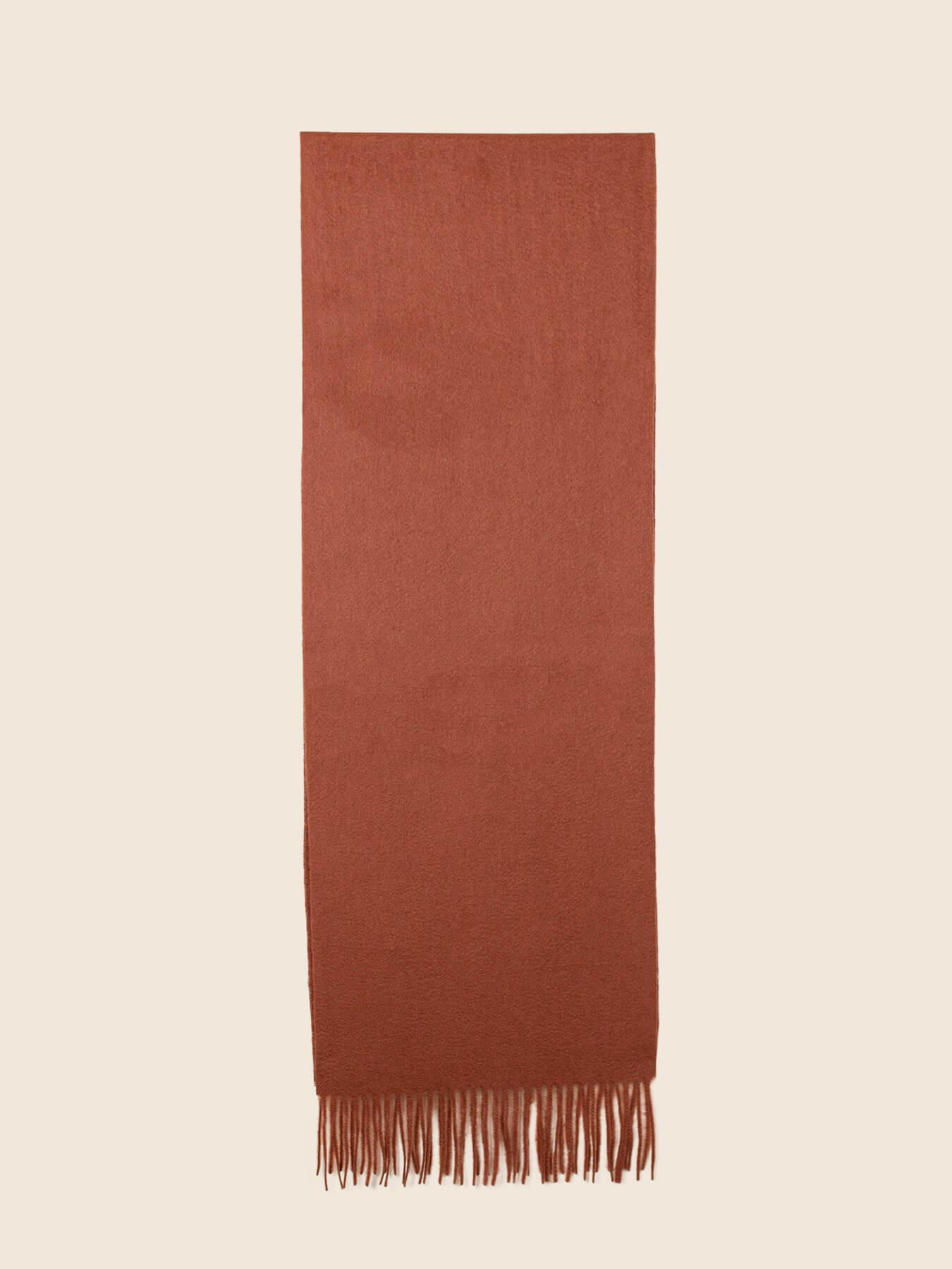 Classic Plain Cashmere Scarf Burnt Orange 2