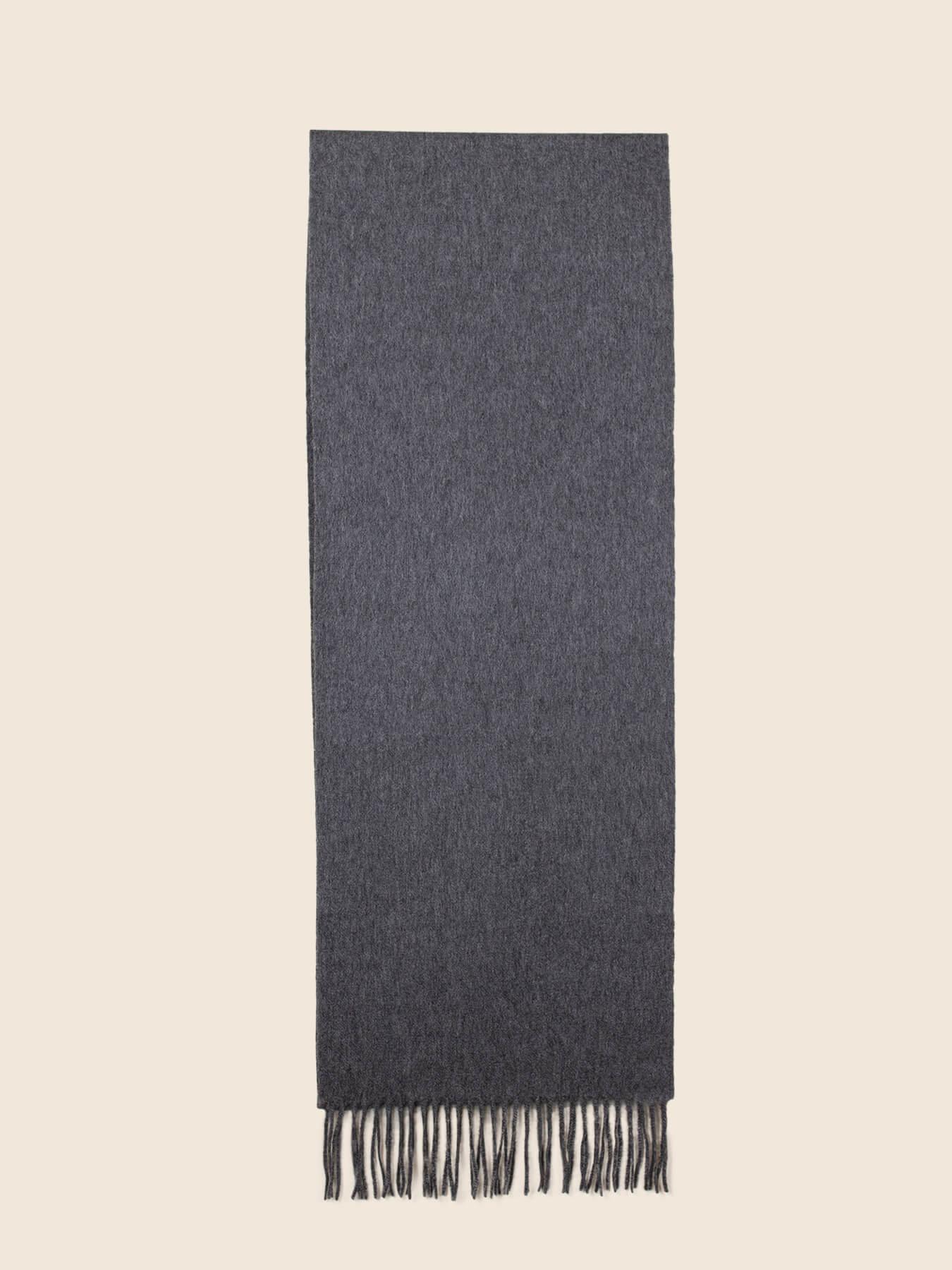 Classic Plain Cashmere Scarf Charcoal 2