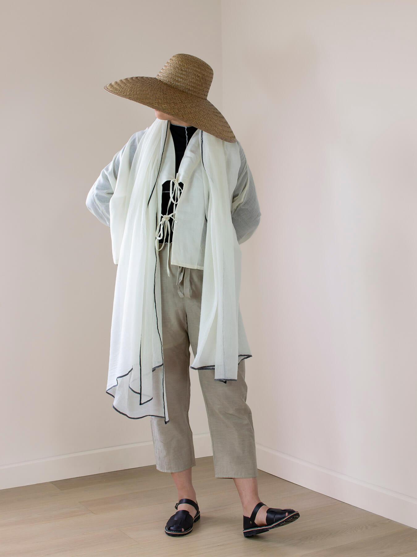 Crepe Wool Shawl Monochrome 1