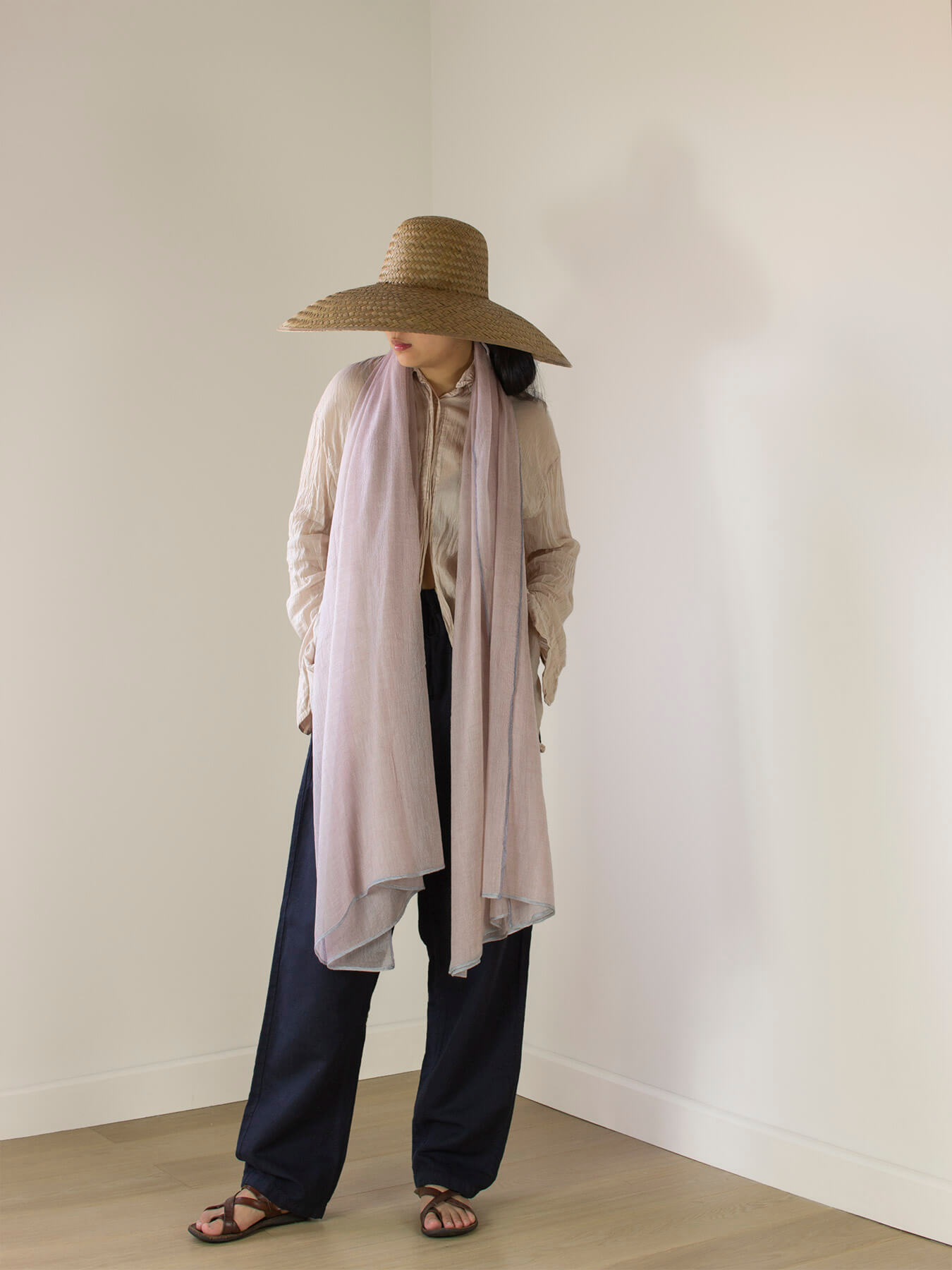 Crepe Wool Shawl Rose Ash 1
