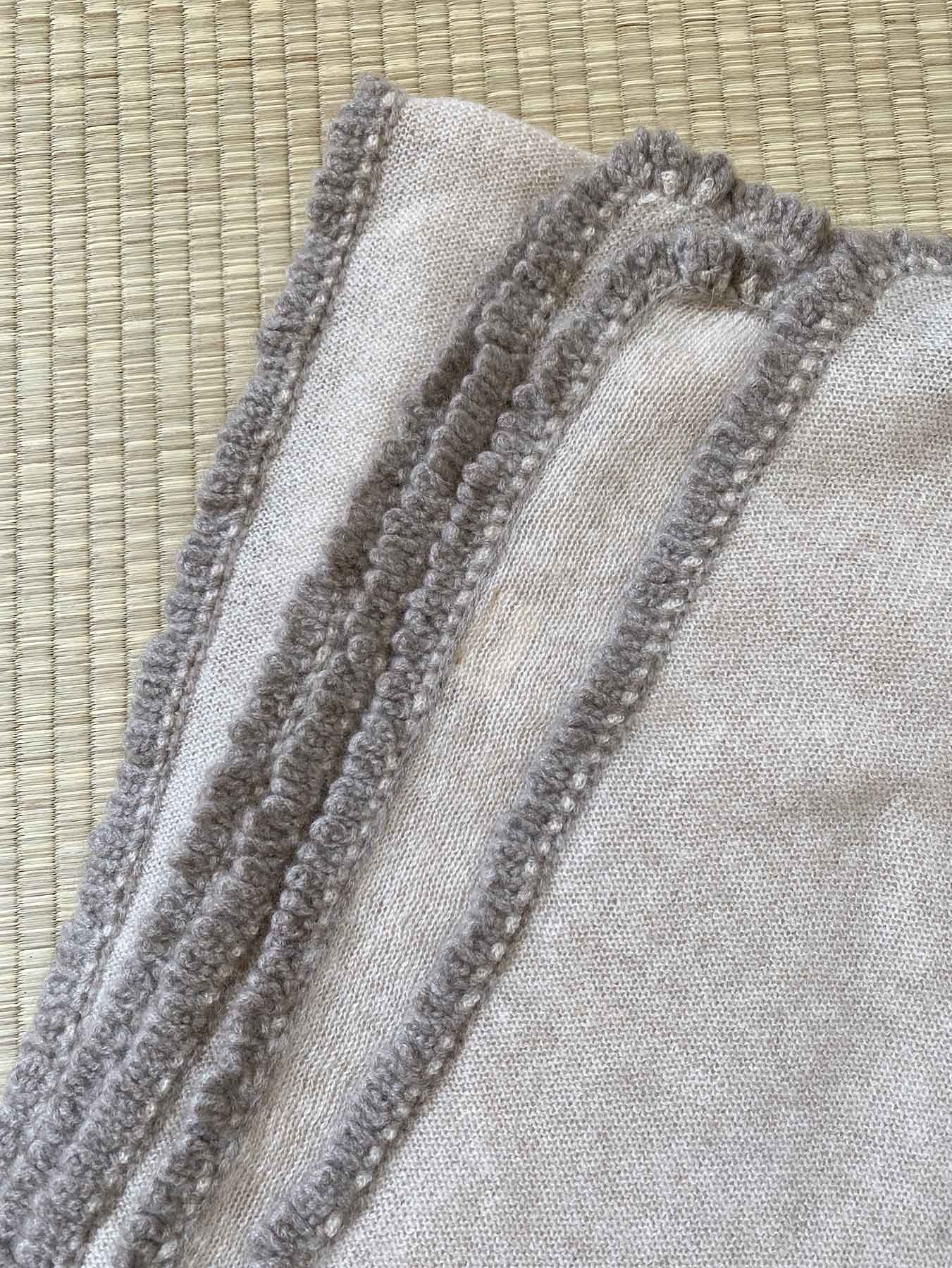 Crochet Loop Fringe Cashmere Scarf Beige 3