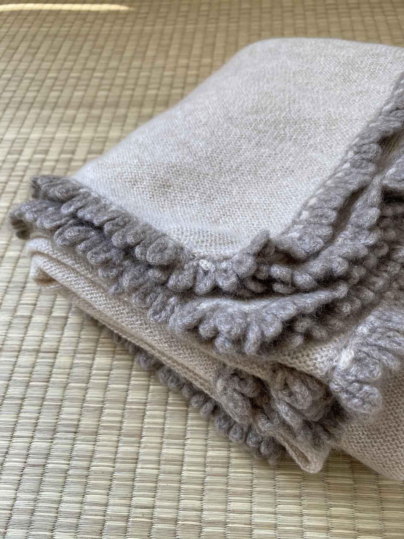 Crochet Loop Fringe Cashmere Scarf Beige 4