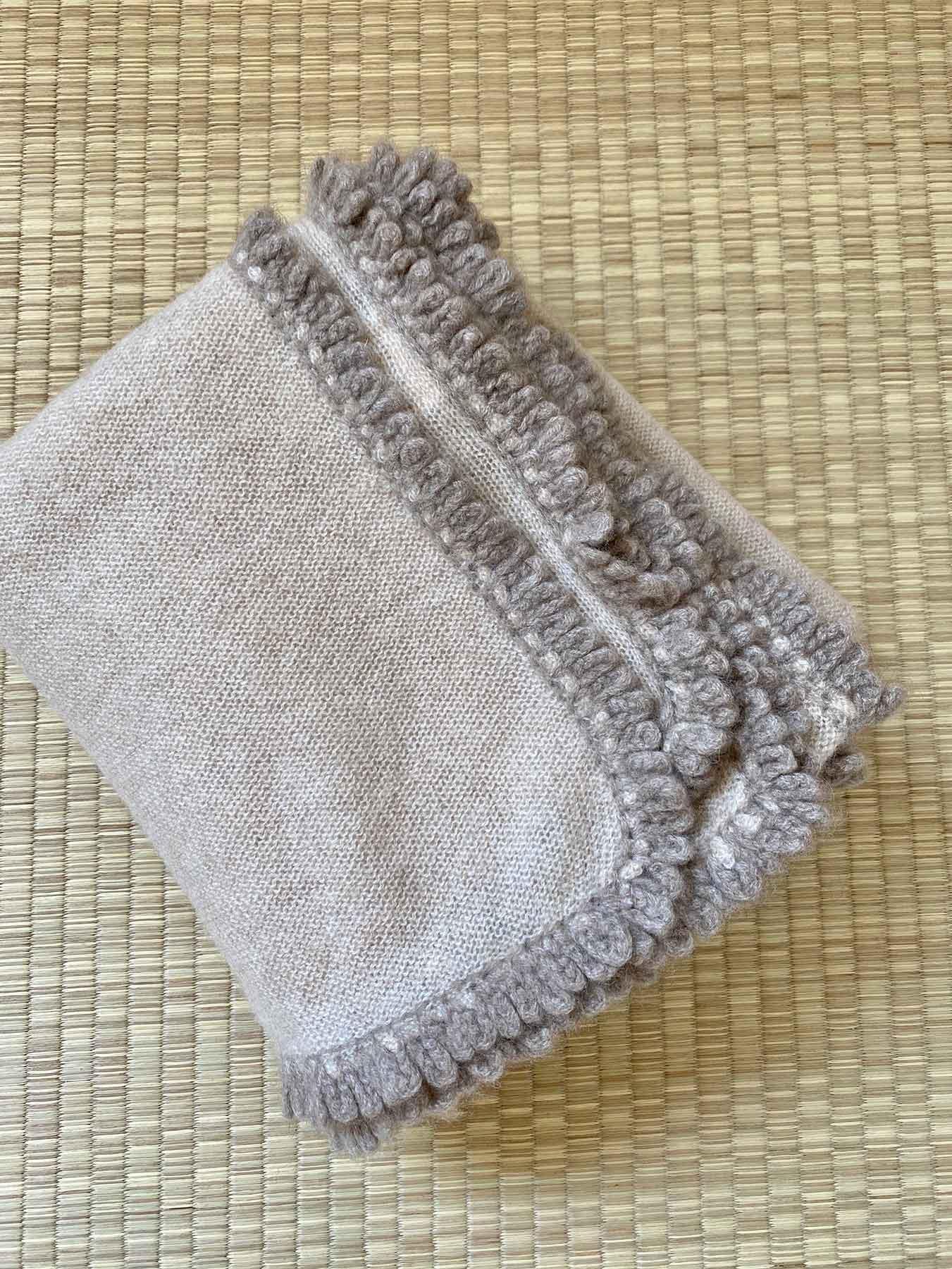 Crochet Loop Fringe Cashmere Scarf Beige 5