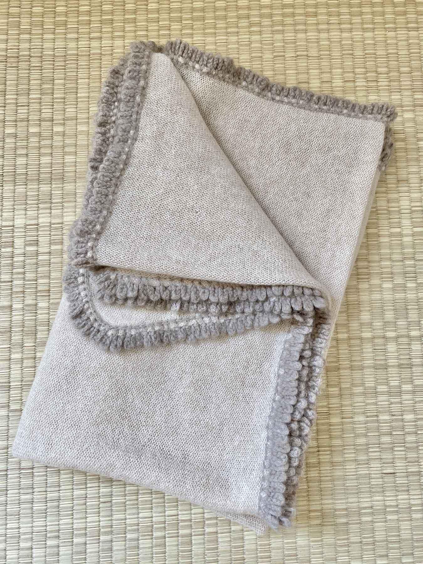 Crochet Loop Fringe Cashmere Scarf Beige 6