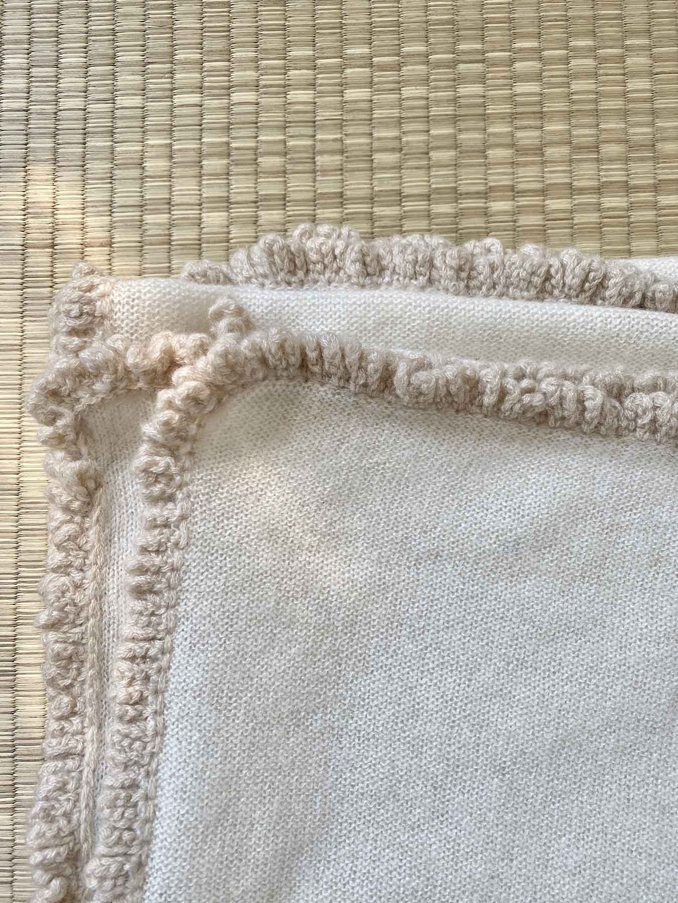 Crochet Loop Fringe Cashmere Scarf Cream 5