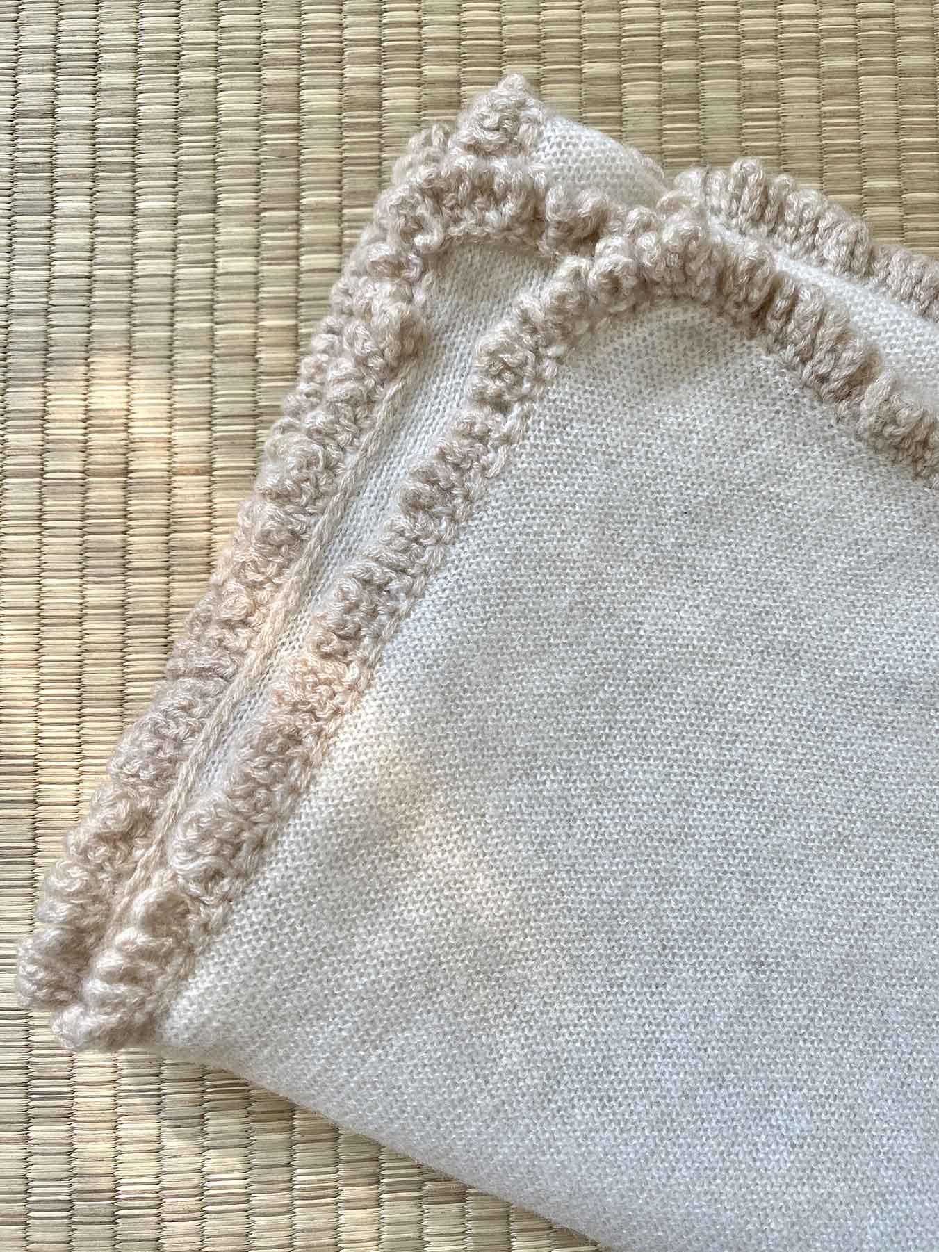 Crochet Loop Fringe Cashmere Scarf Cream 6