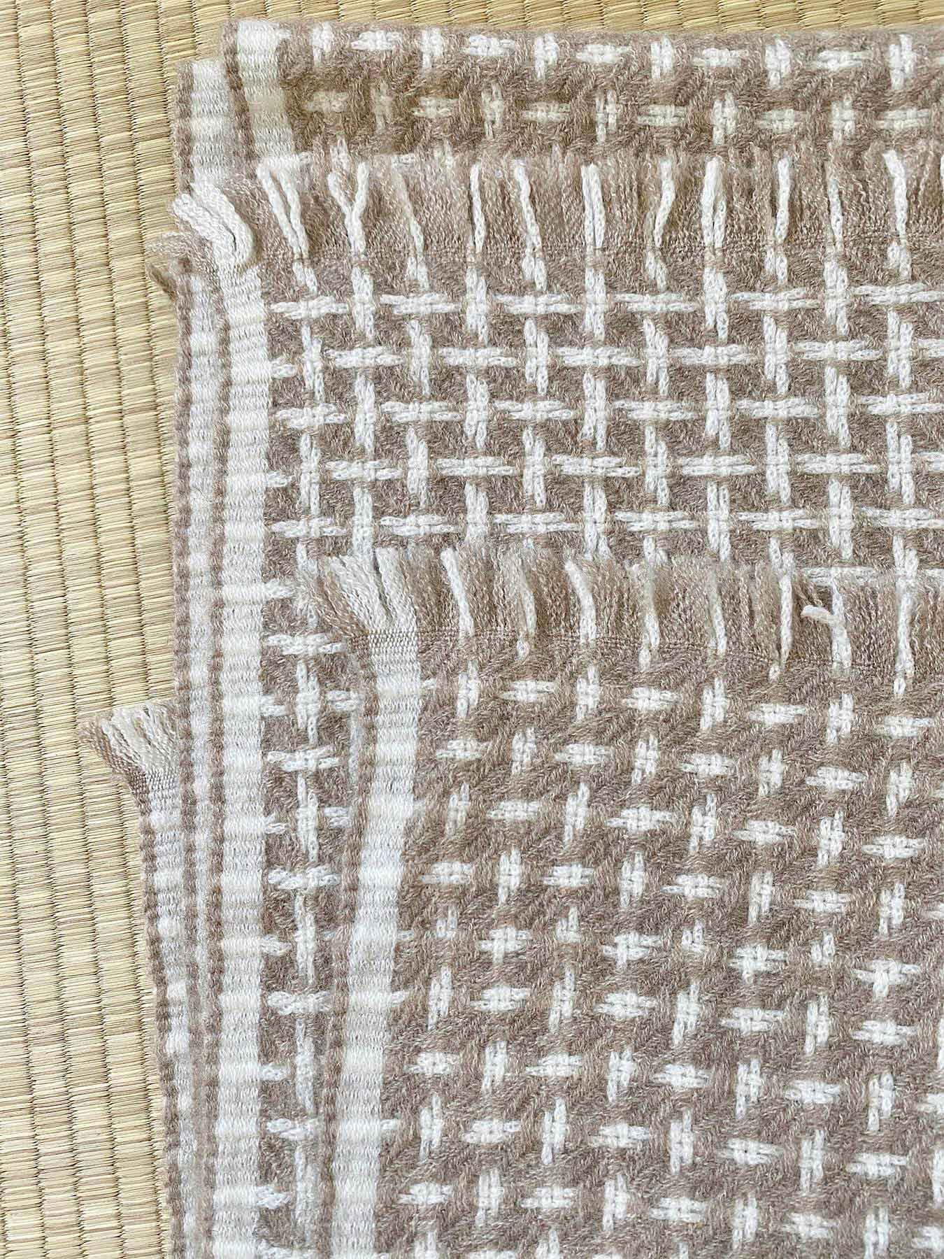 Cross Pattern Twill Cashmere Scarf Latte 3