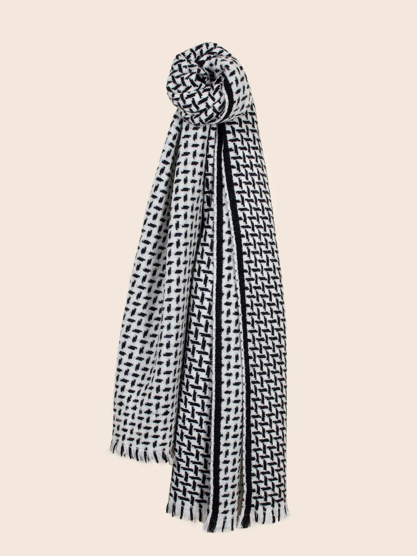 Cross Pattern Twill Cashmere Scarf Monochrome 2