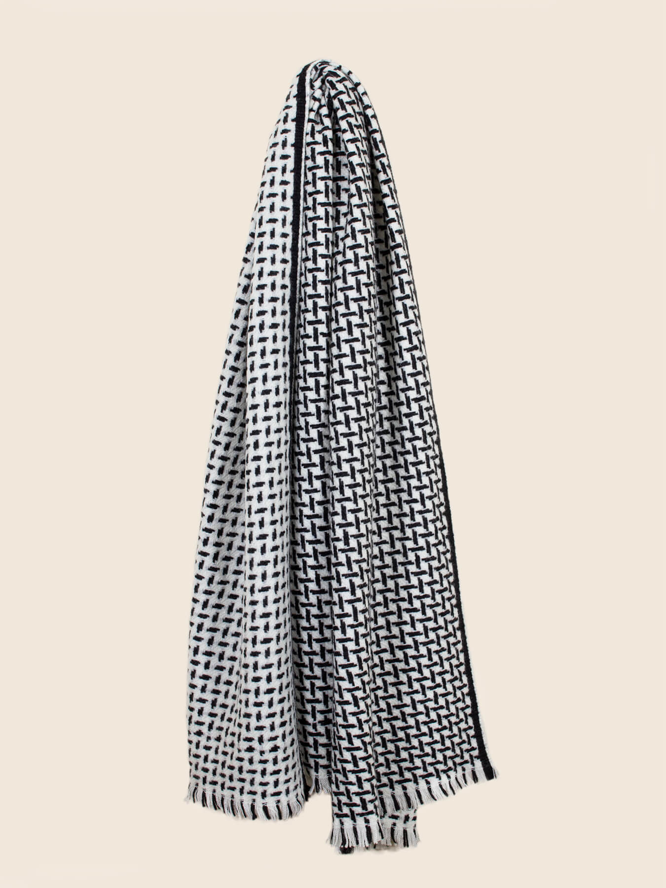 Cross Pattern Twill Cashmere Scarf Monochrome 3