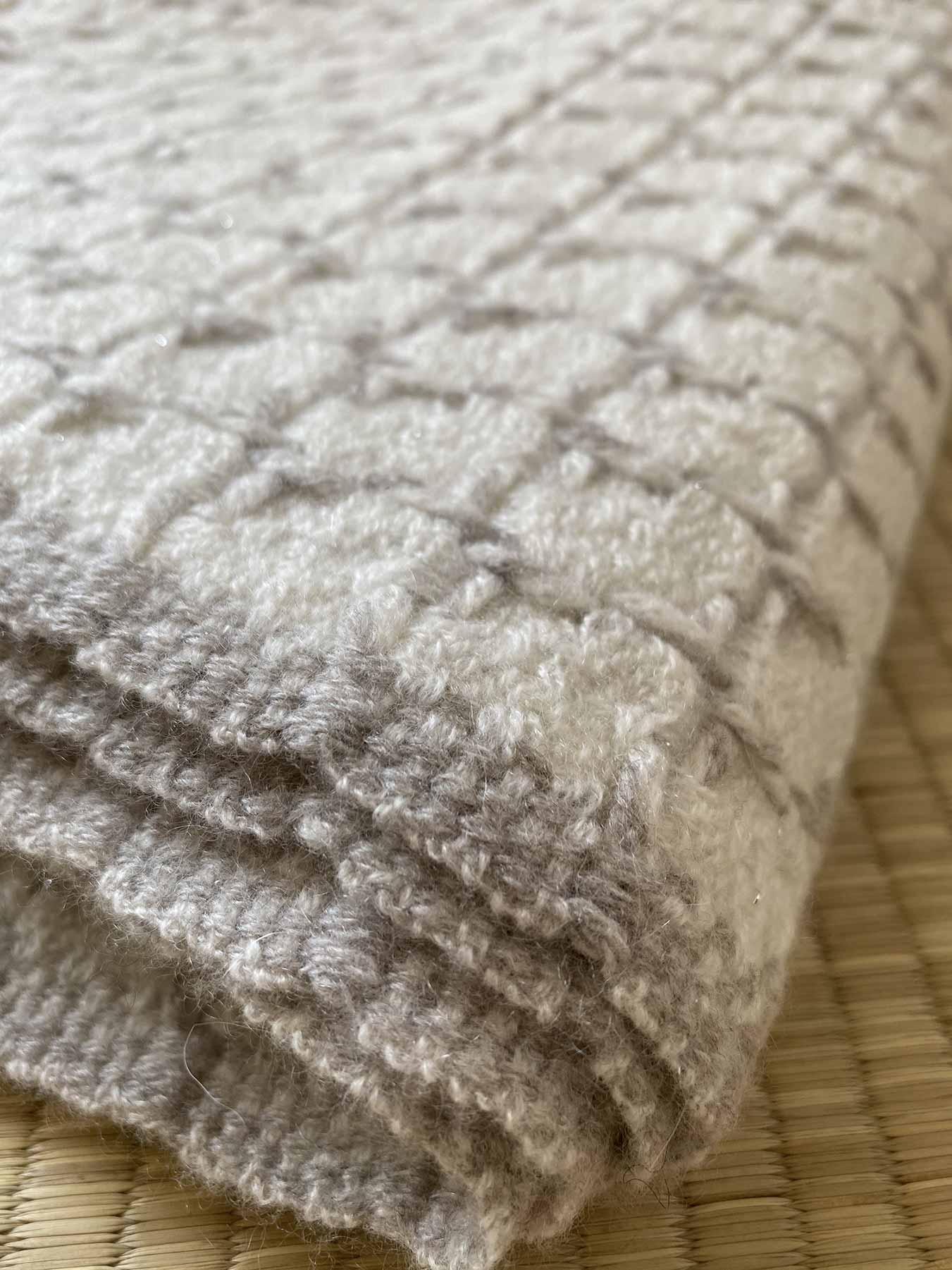 Grid Cashmere Scarf Coconut White 6