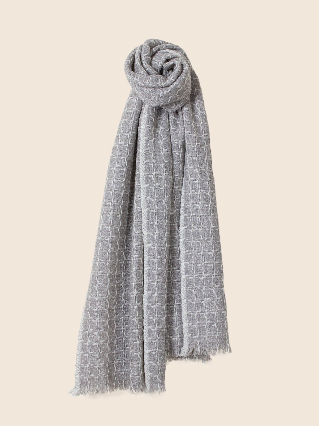 Grid Cashmere Scarf Smoke Grey 1