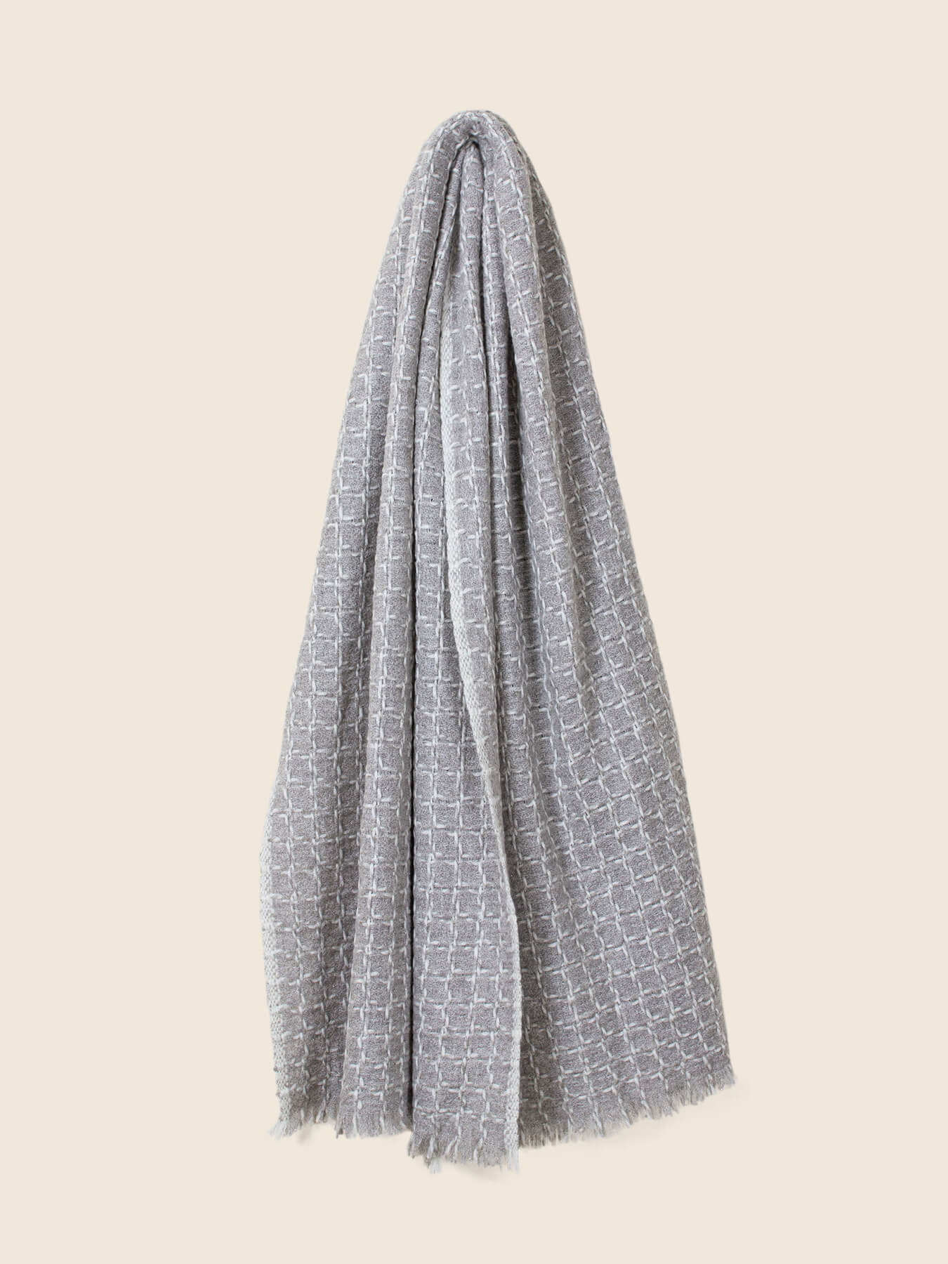 Grid Cashmere Scarf Smoke Grey 2