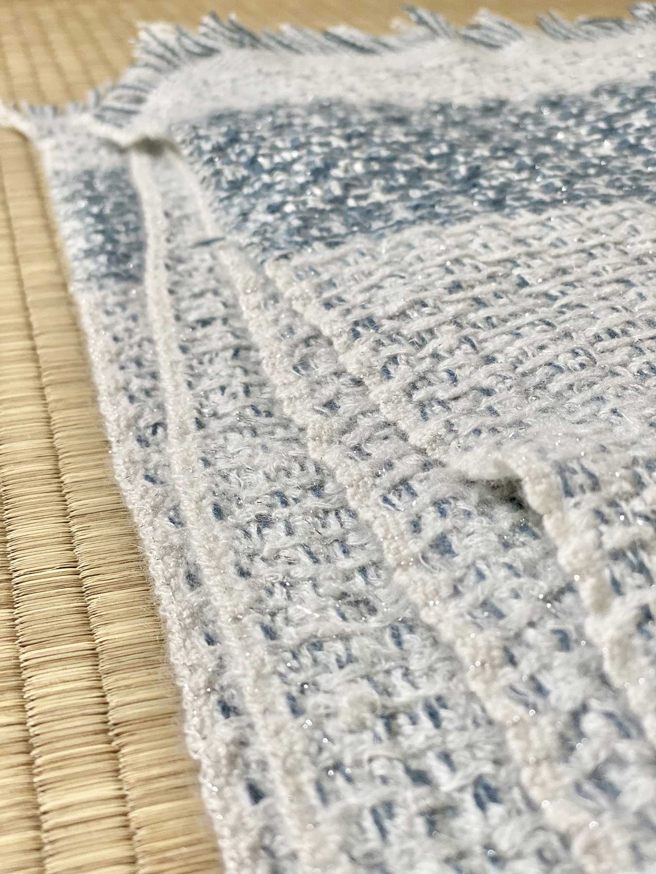 Shimmering Ocean Cashmere Scarf Tonal Blue 4