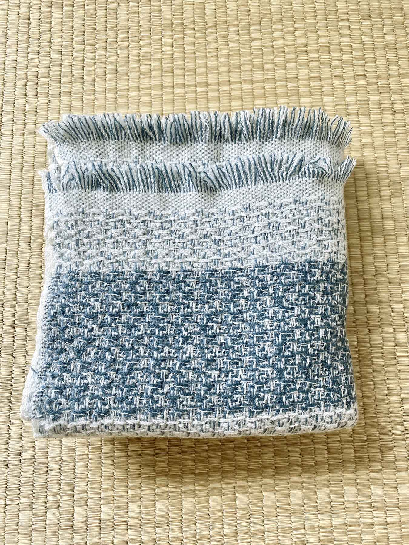 Shimmering Ocean Cashmere Scarf Tonal Blue 5