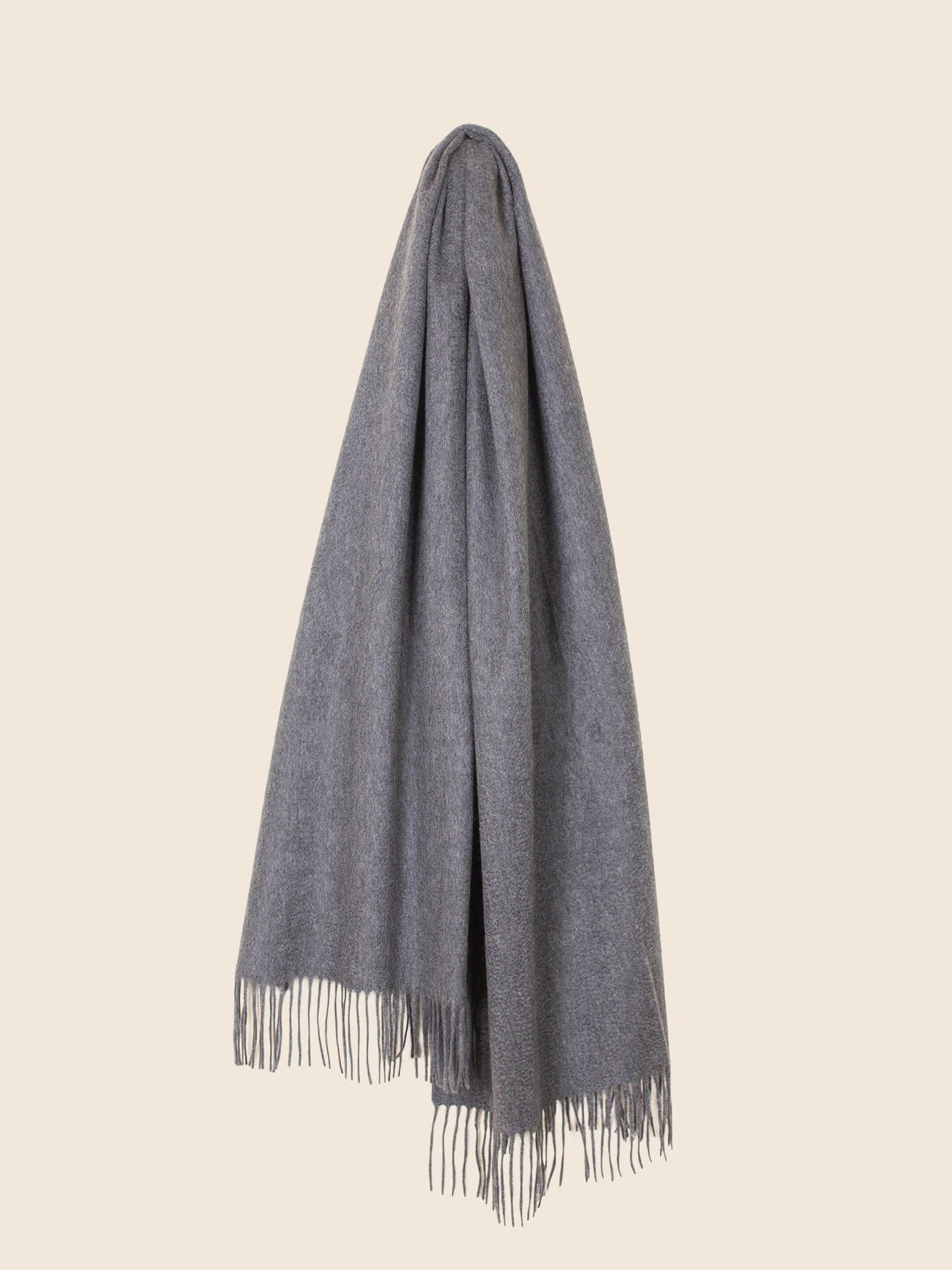 Staple Plain Cashmere Shawl Grey 1