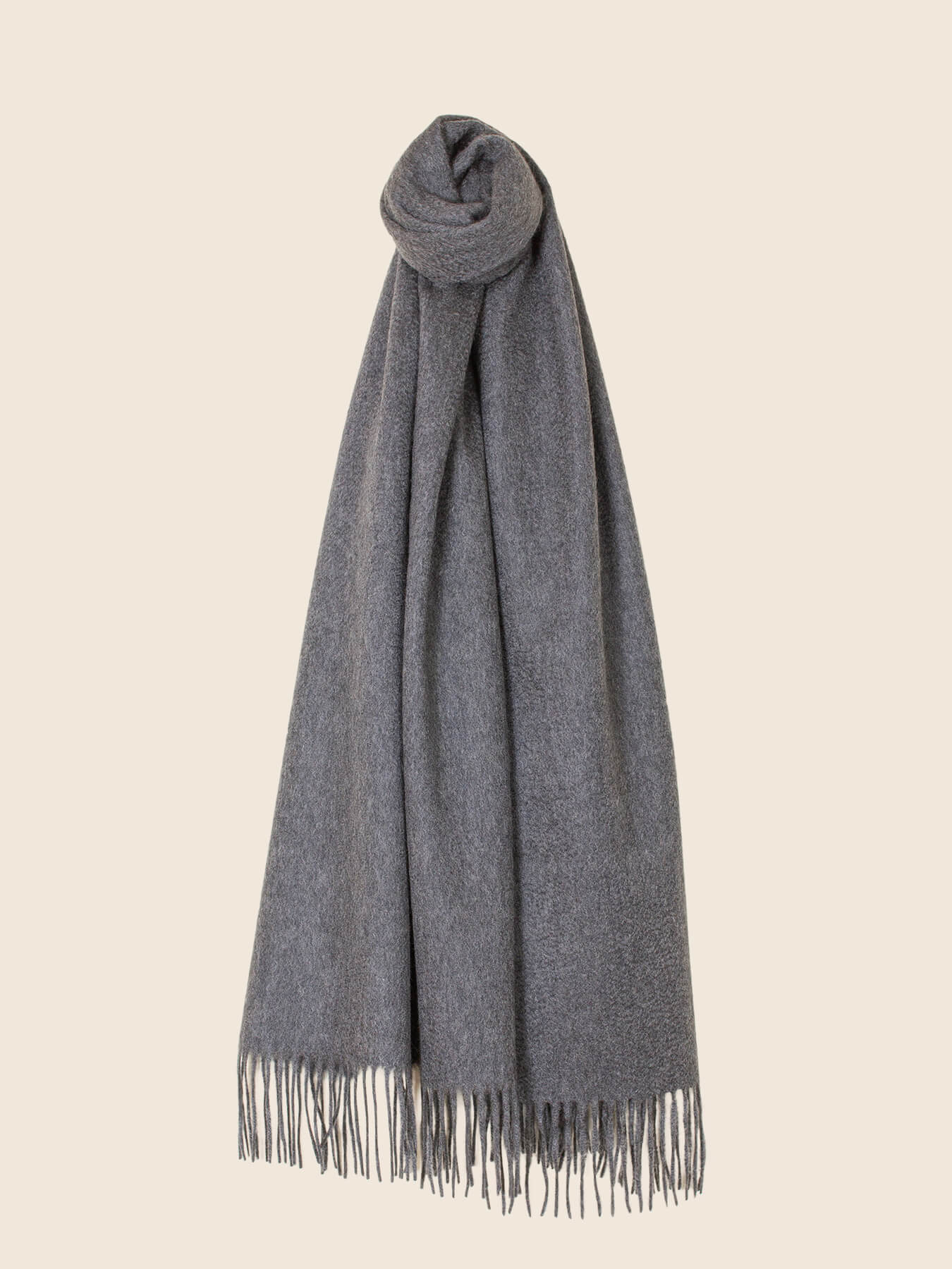 Staple Plain Cashmere Shawl Grey 2