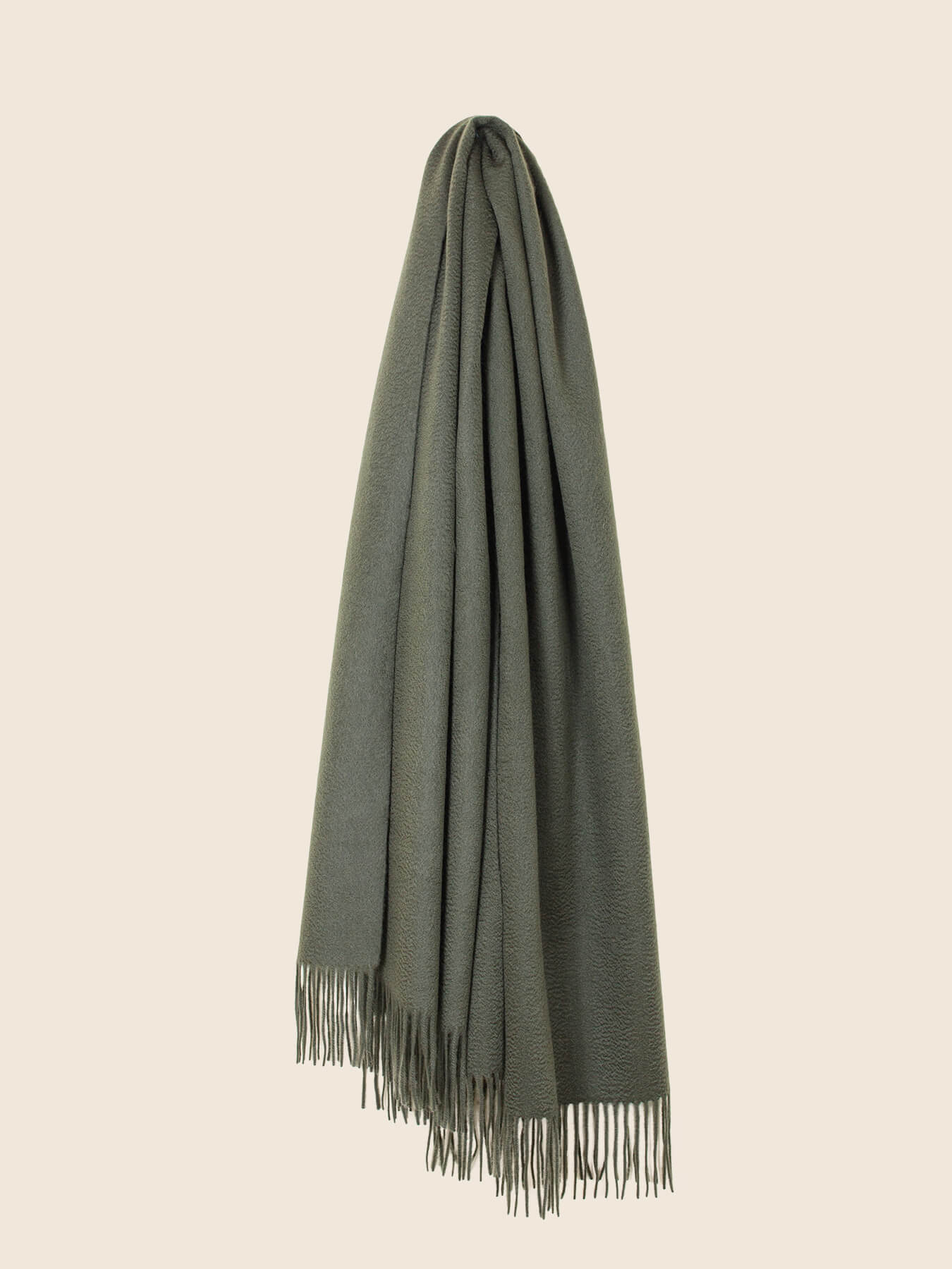 Staple Plain Cashmere Shawl Moss Green 1