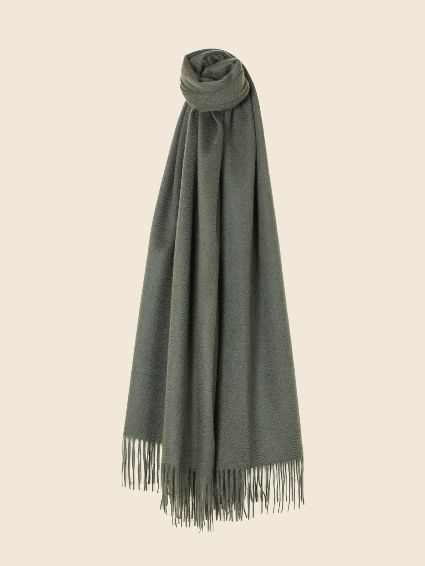 Staple Plain Cashmere Shawl Moss Green 2