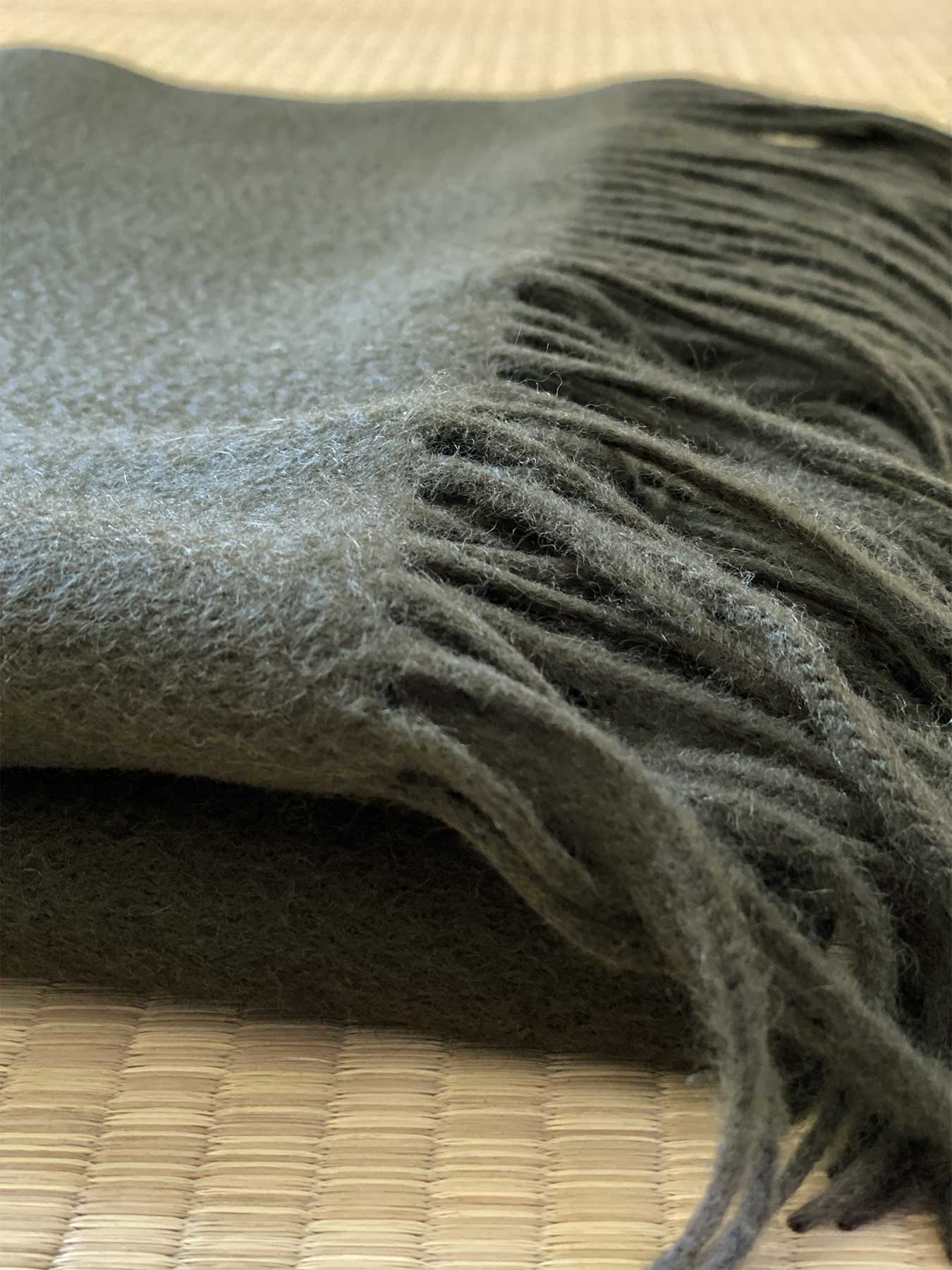 Staple Plain Cashmere Shawl Moss Green 3