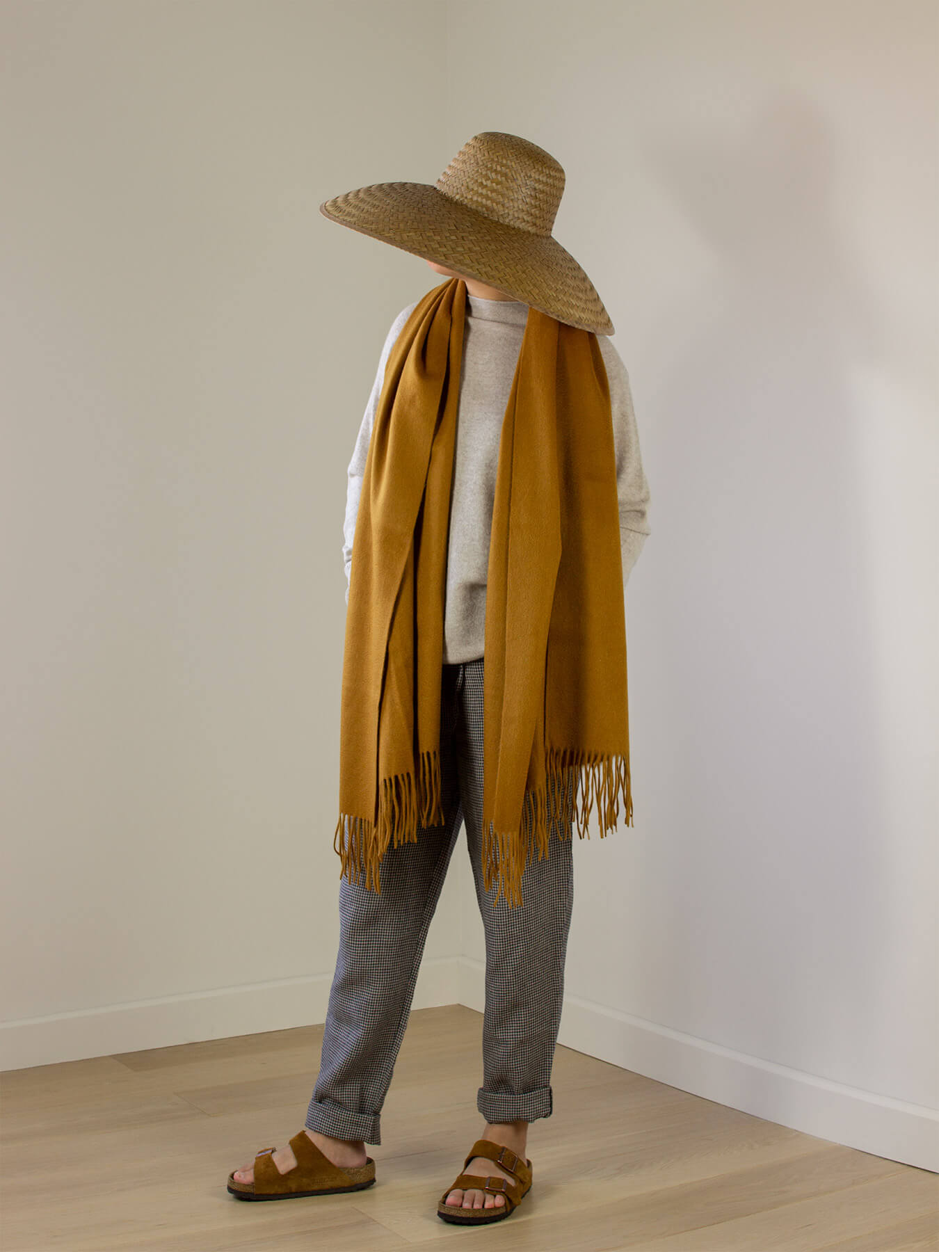 Staple Plain Cashmere Shawl Mustard 1