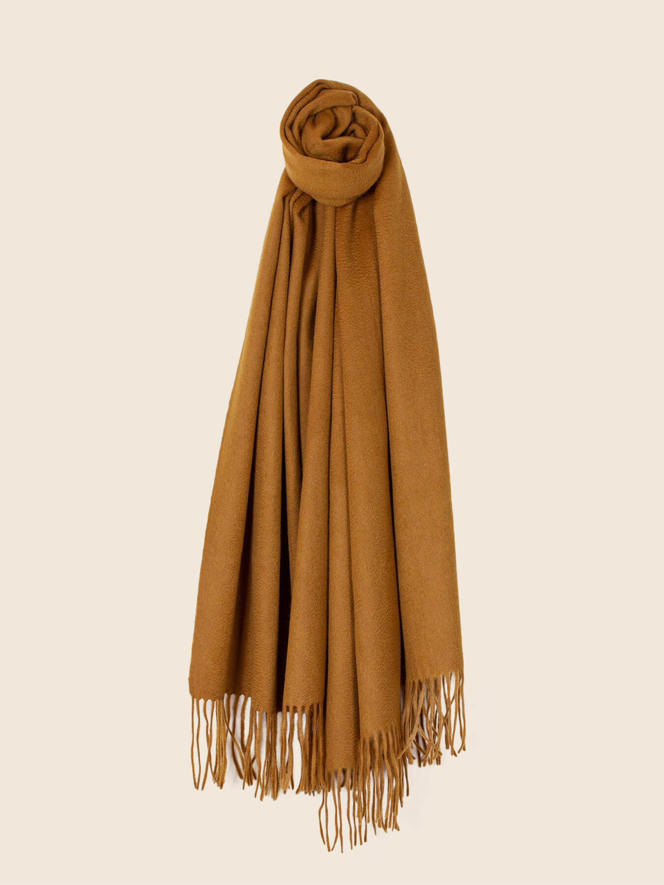 Staple Plain Cashmere Shawl Mustard 2