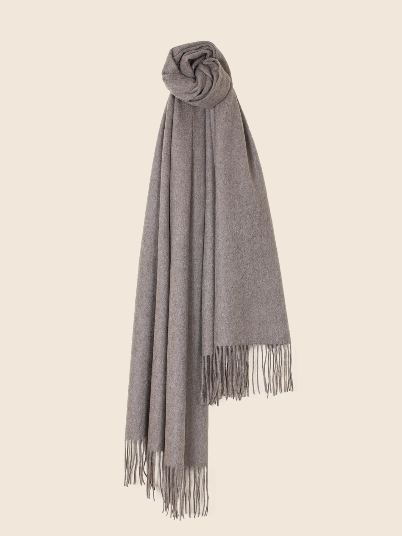 Staple Plain Cashmere Shawl Taupe 1