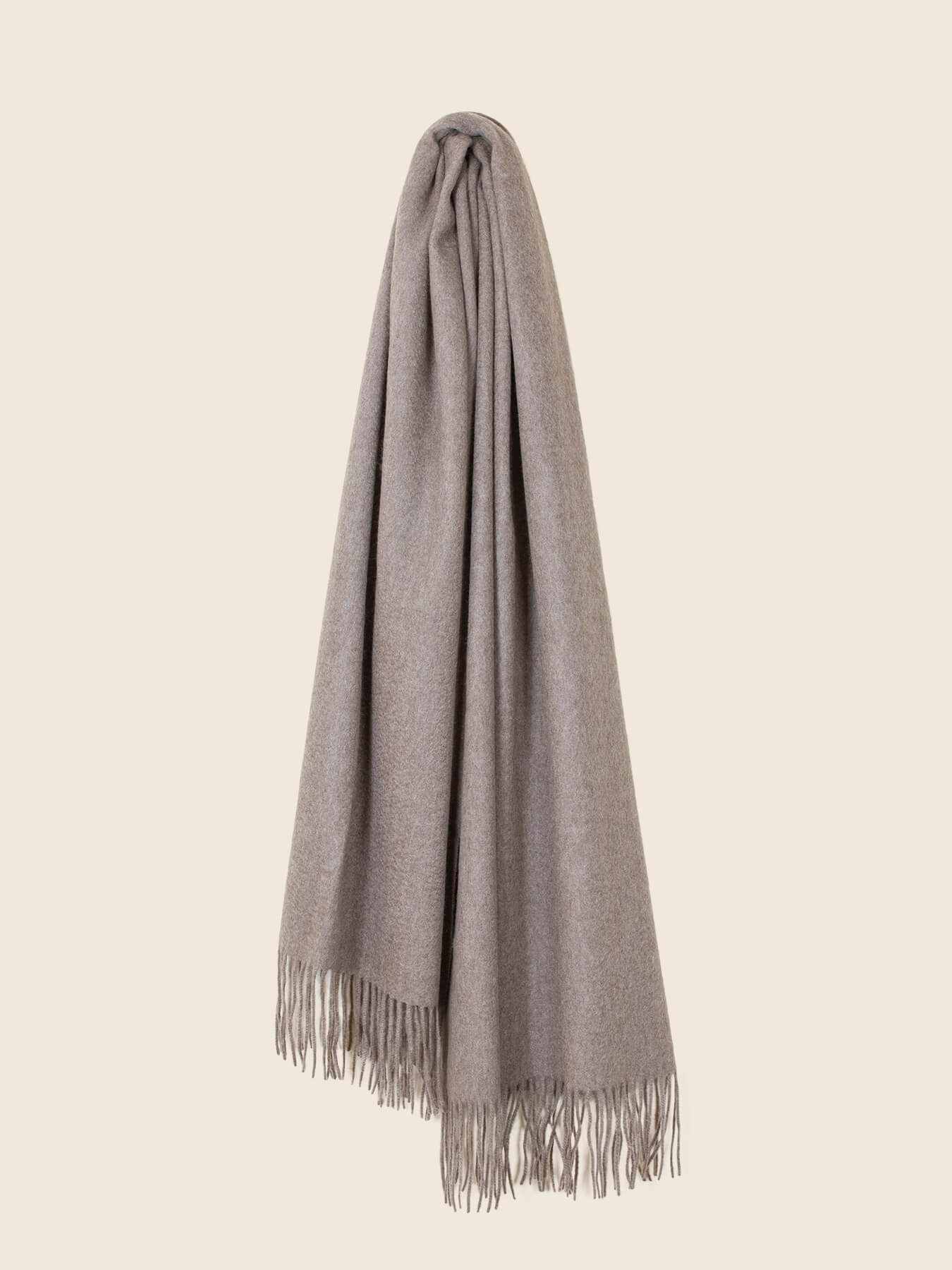 Staple Plain Cashmere Shawl Taupe 2
