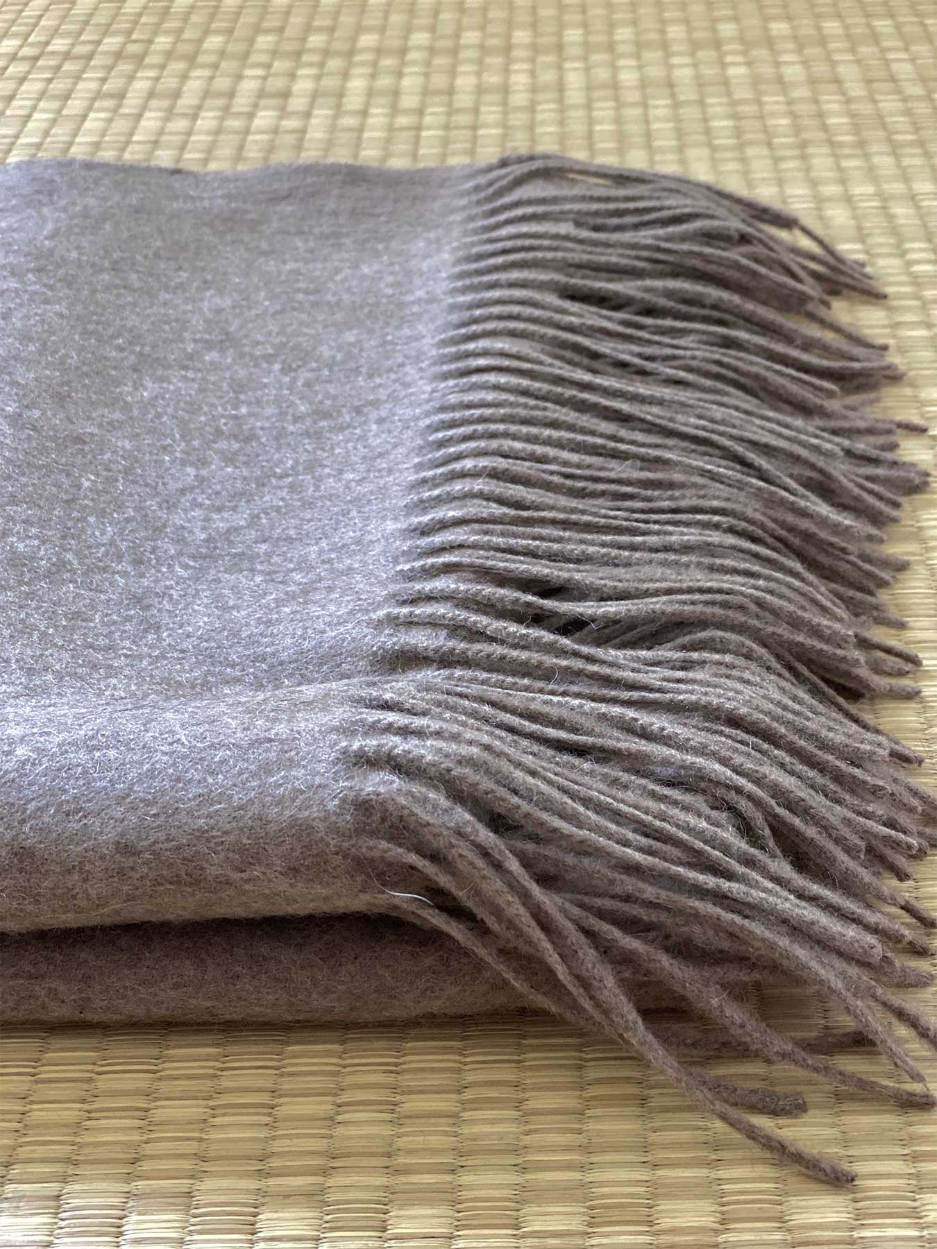 Staple Plain Cashmere Shawl Taupe 5