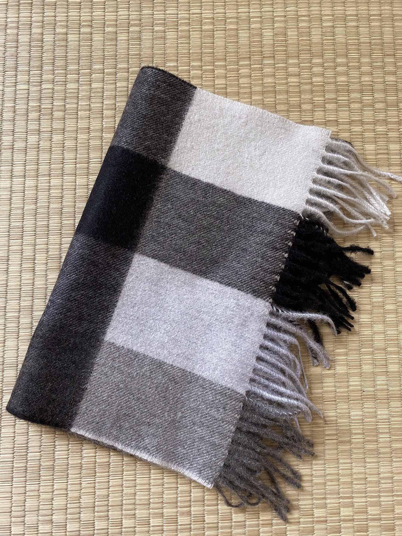 Tartan Plaid Cashmere Scarf Monochrome 6