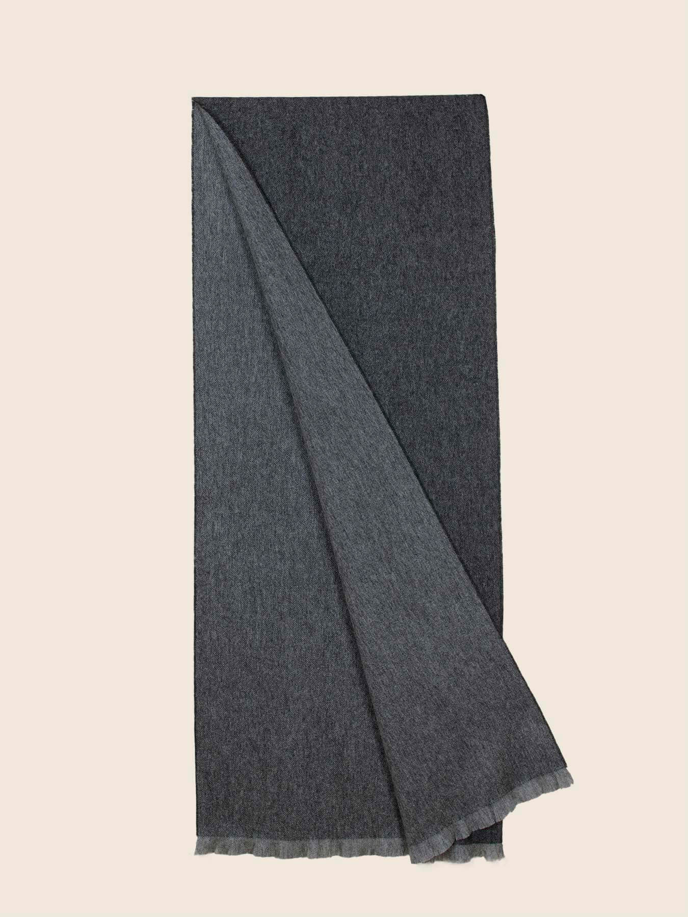Timeless Reversible Cashmere Scarf Charcoal 11