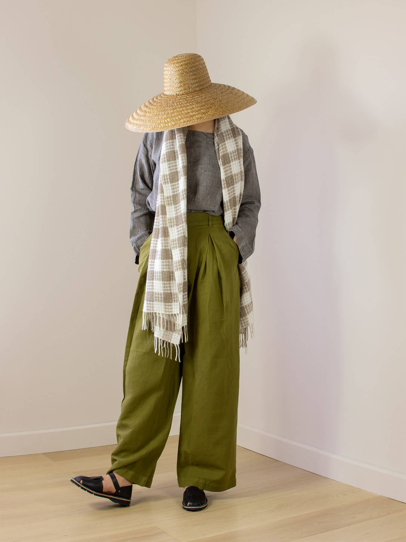Twill Gingham Cashmere Scarf Latte 1
