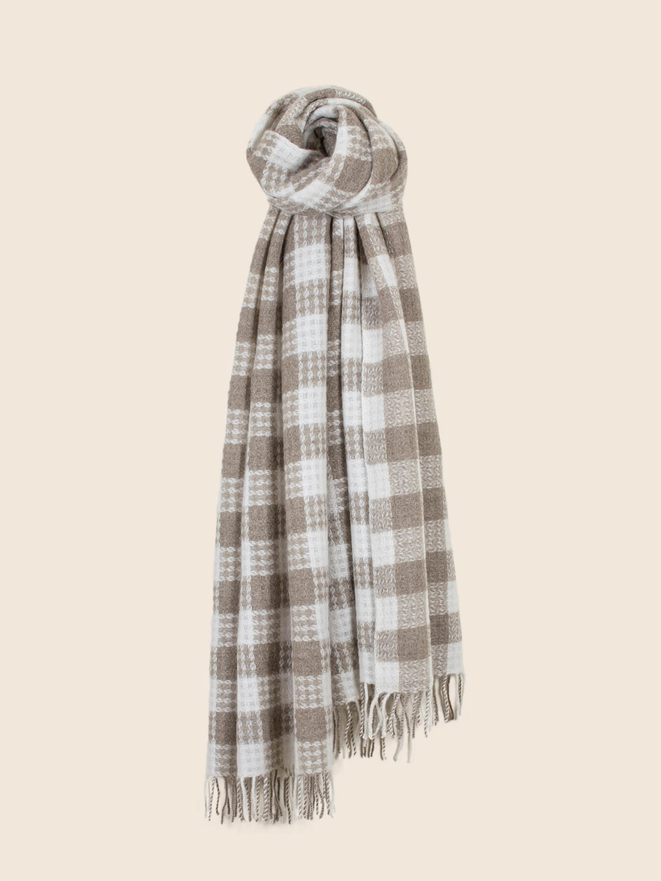 Twill Gingham Cashmere Scarf Latte 2
