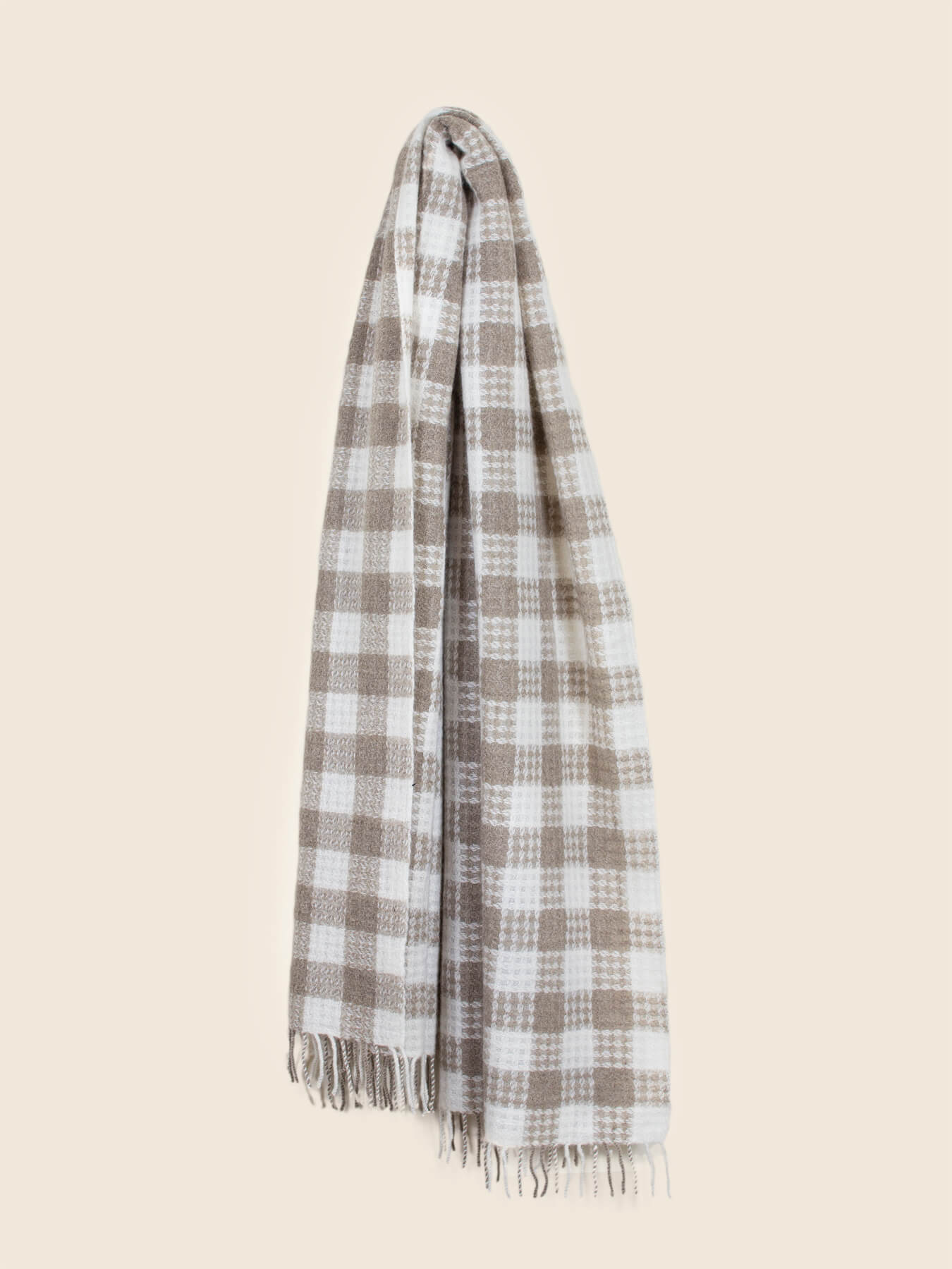 Twill Gingham Cashmere Scarf Latte 3