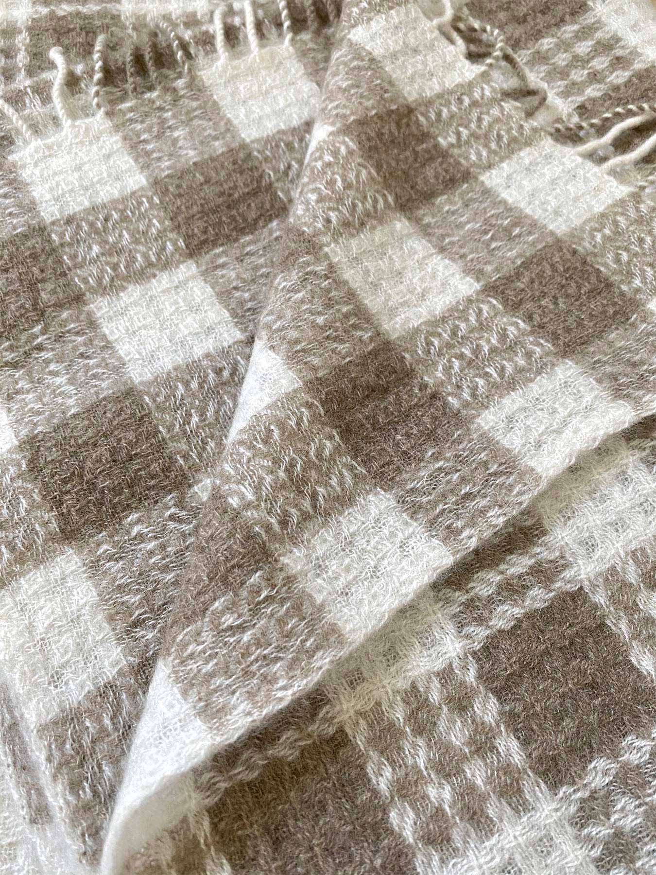 Twill Gingham Cashmere Scarf Latte 5