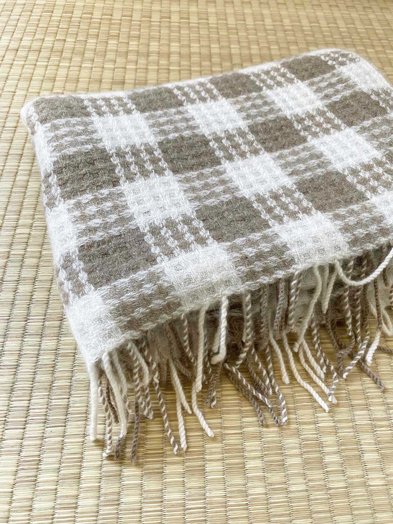 Twill Gingham Cashmere Scarf Latte 6