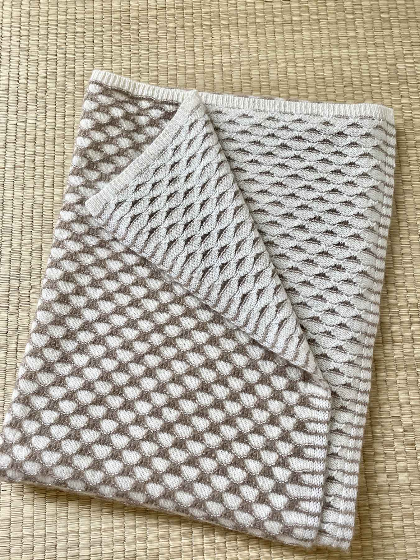 Two-Tone Lattice Knitted Cashmere Wrap 3