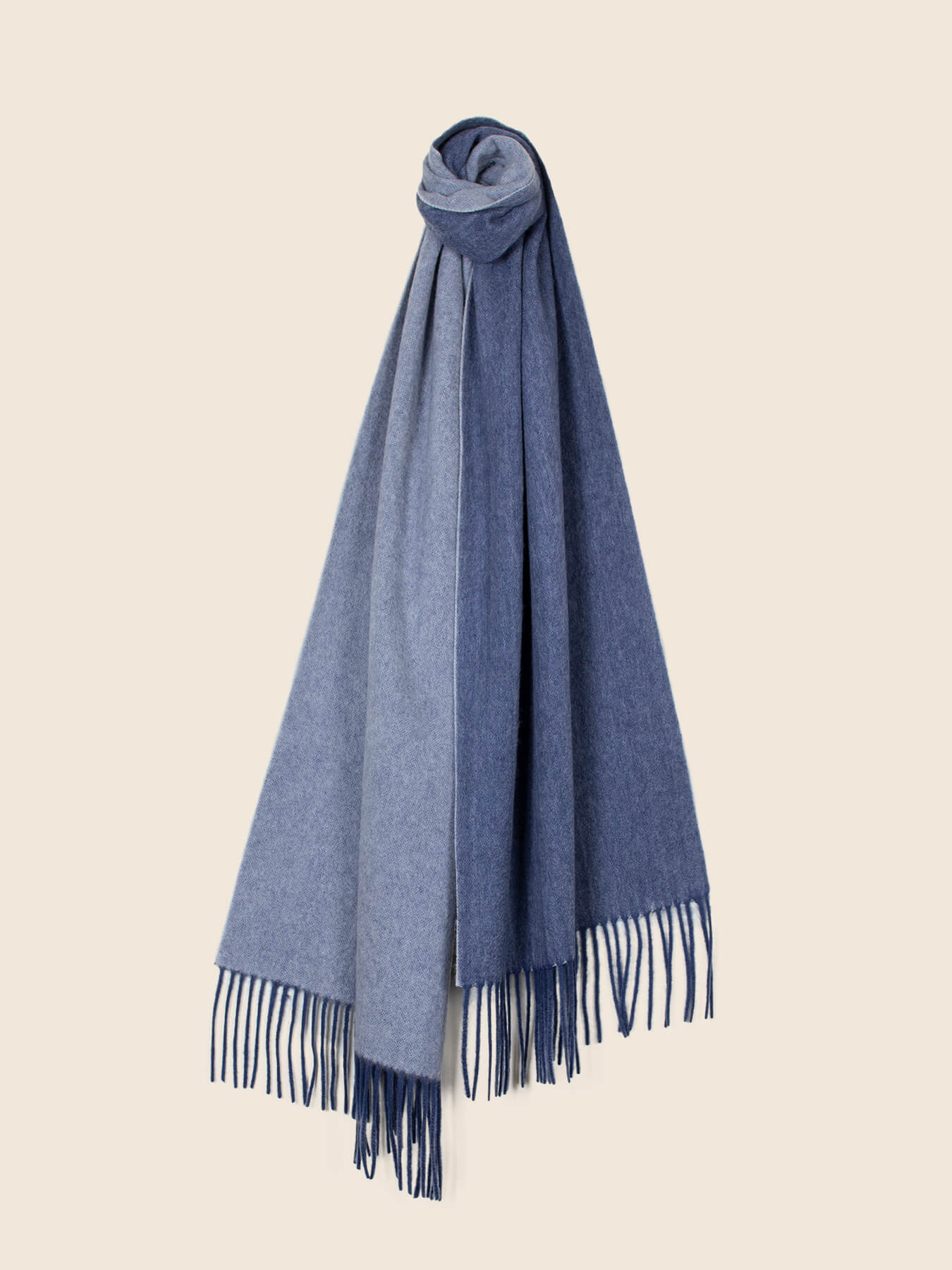 Two-Tone Reversible Cashmere Shawl Aegean Blue 1