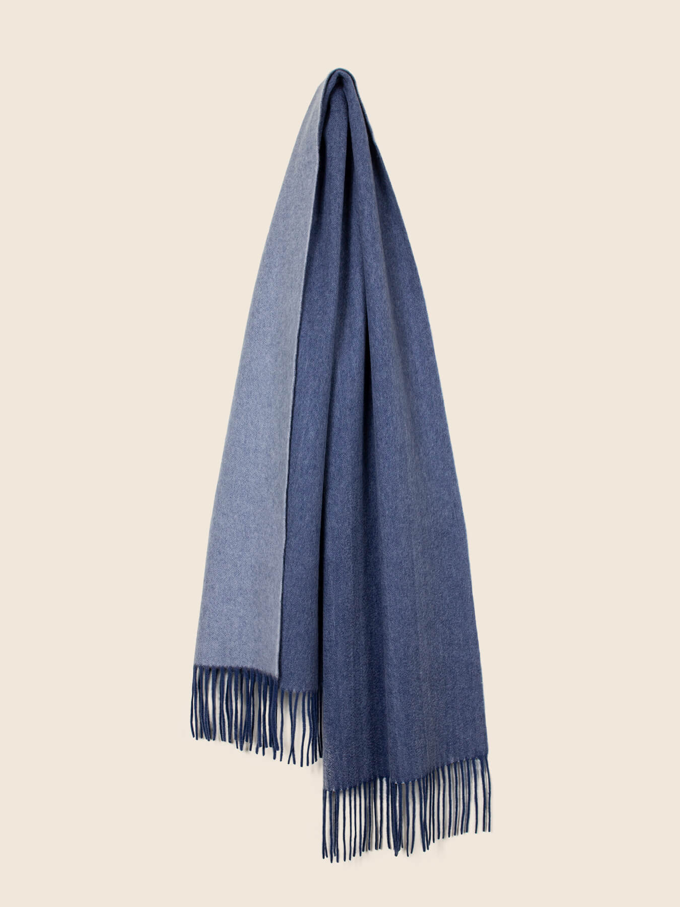 Two-Tone Reversible Cashmere Shawl Aegean Blue 2