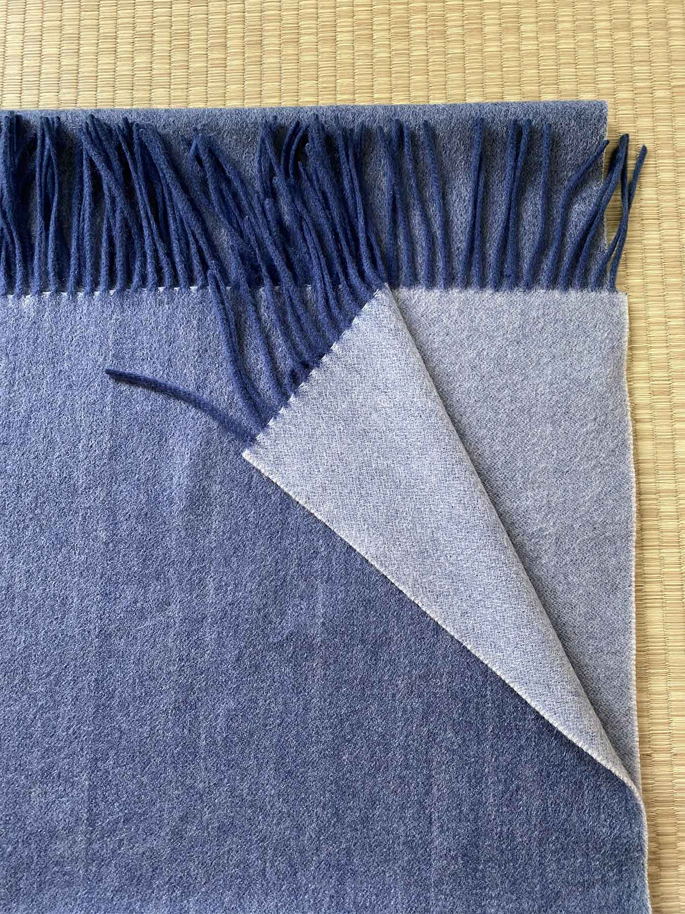 Two-Tone Reversible Cashmere Shawl Aegean Blue 3