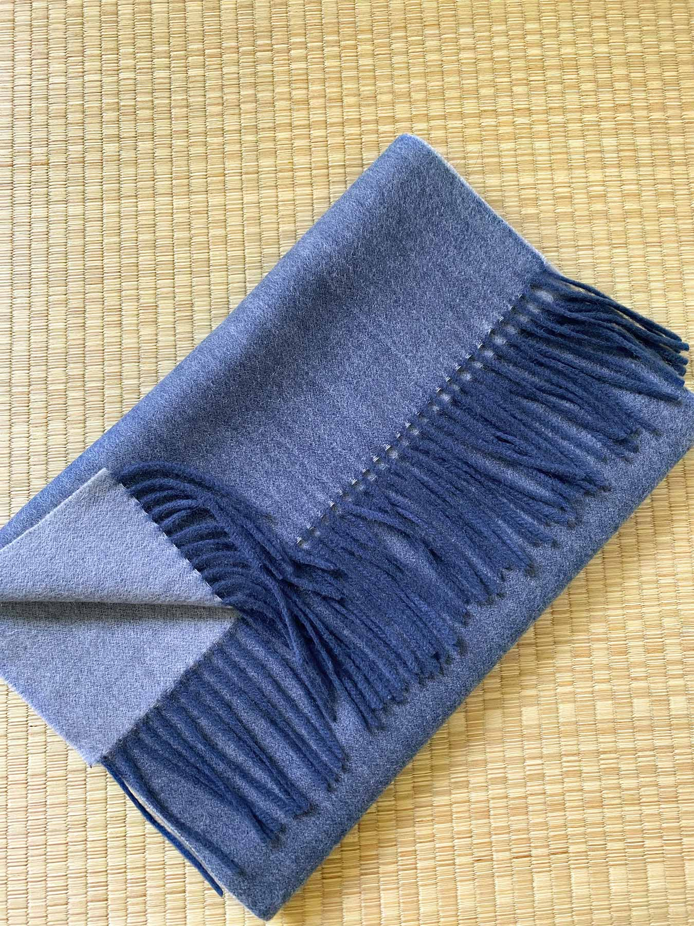 Two-Tone Reversible Cashmere Shawl Aegean Blue 4