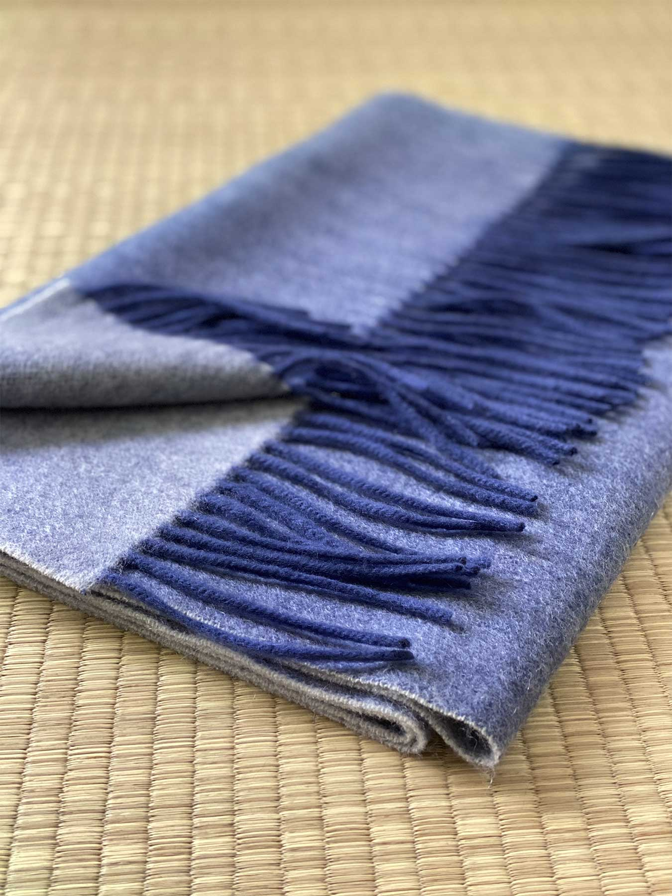 Two-Tone Reversible Cashmere Shawl Aegean Blue 5