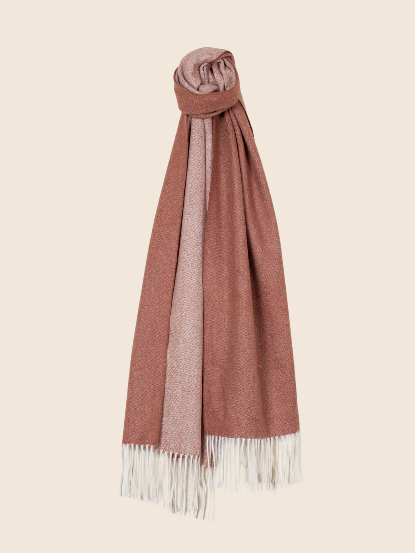 Two-Tone Reversible Cashmere Shawl Burnt Orange 1