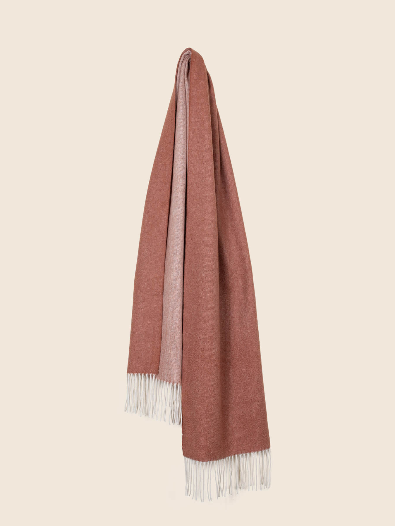 Two-Tone Reversible Cashmere Shawl Burnt Orange 2