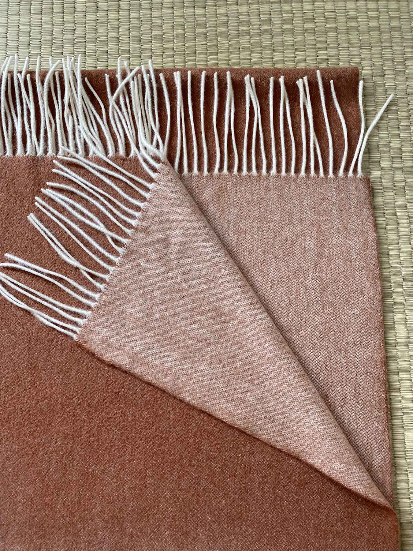 Two-Tone Reversible Cashmere Shawl Burnt Orange 3