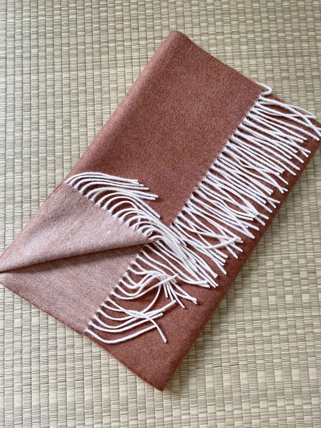 Two-Tone Reversible Cashmere Shawl Burnt Orange 4