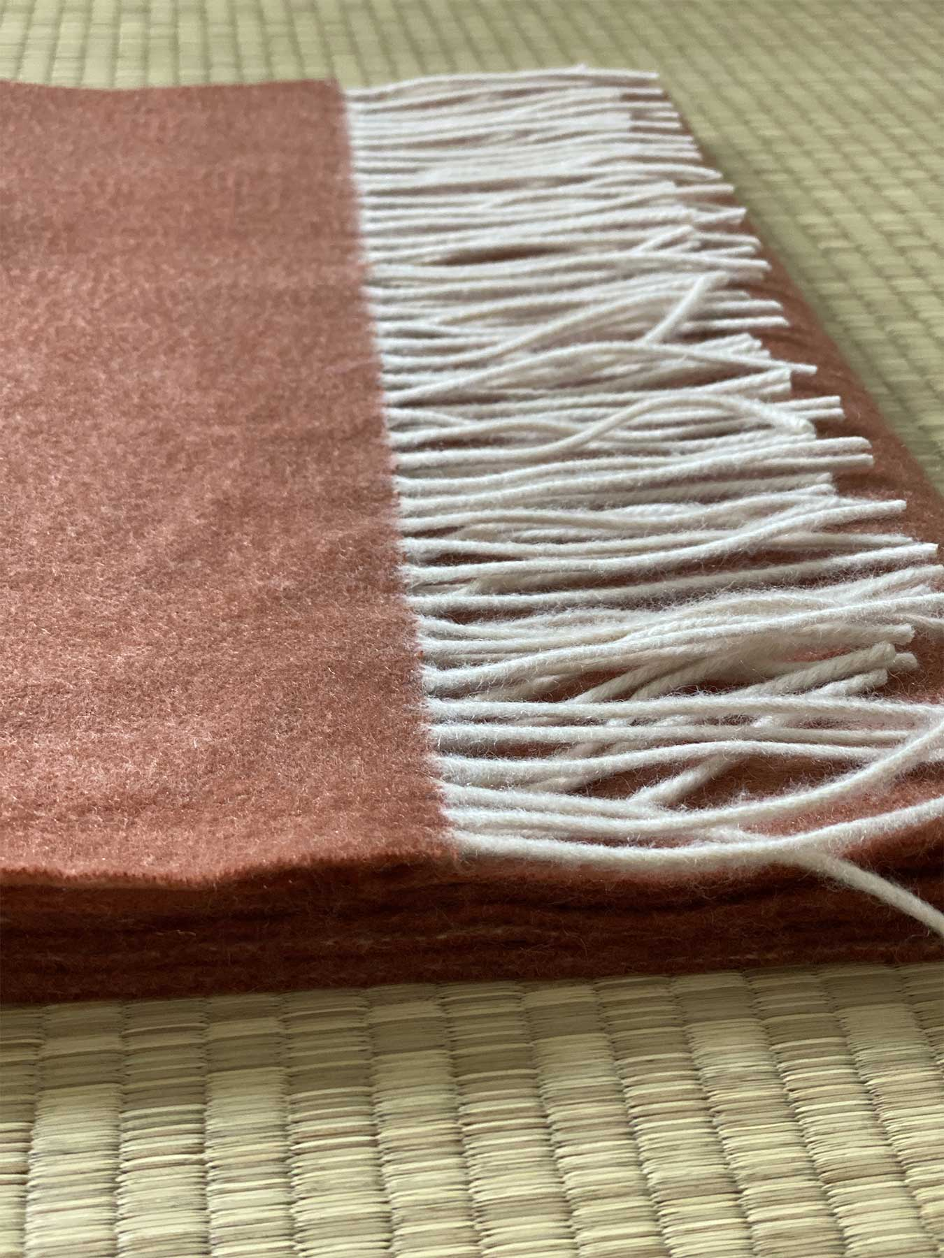 Two-Tone Reversible Cashmere Shawl Burnt Orange 5