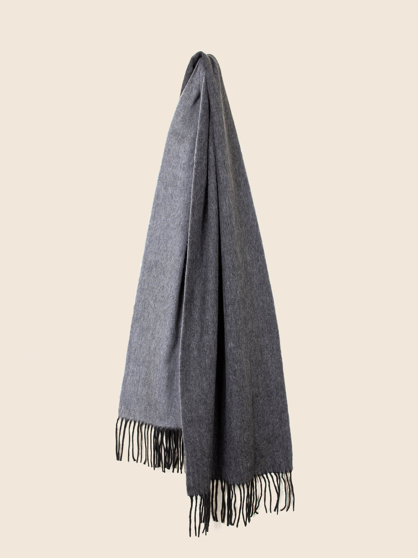 Two-Tone Reversible Cashmere Shawl Charcoal 1