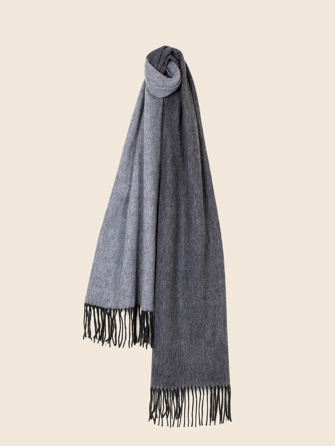 Two-Tone Reversible Cashmere Shawl Charcoal 2